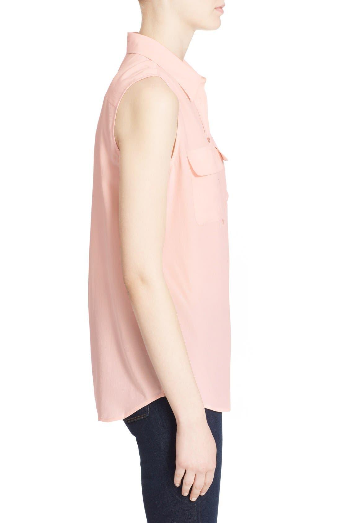'Slim Signature' Sleeveless Silk Shirt,                             Alternate thumbnail 134, color,