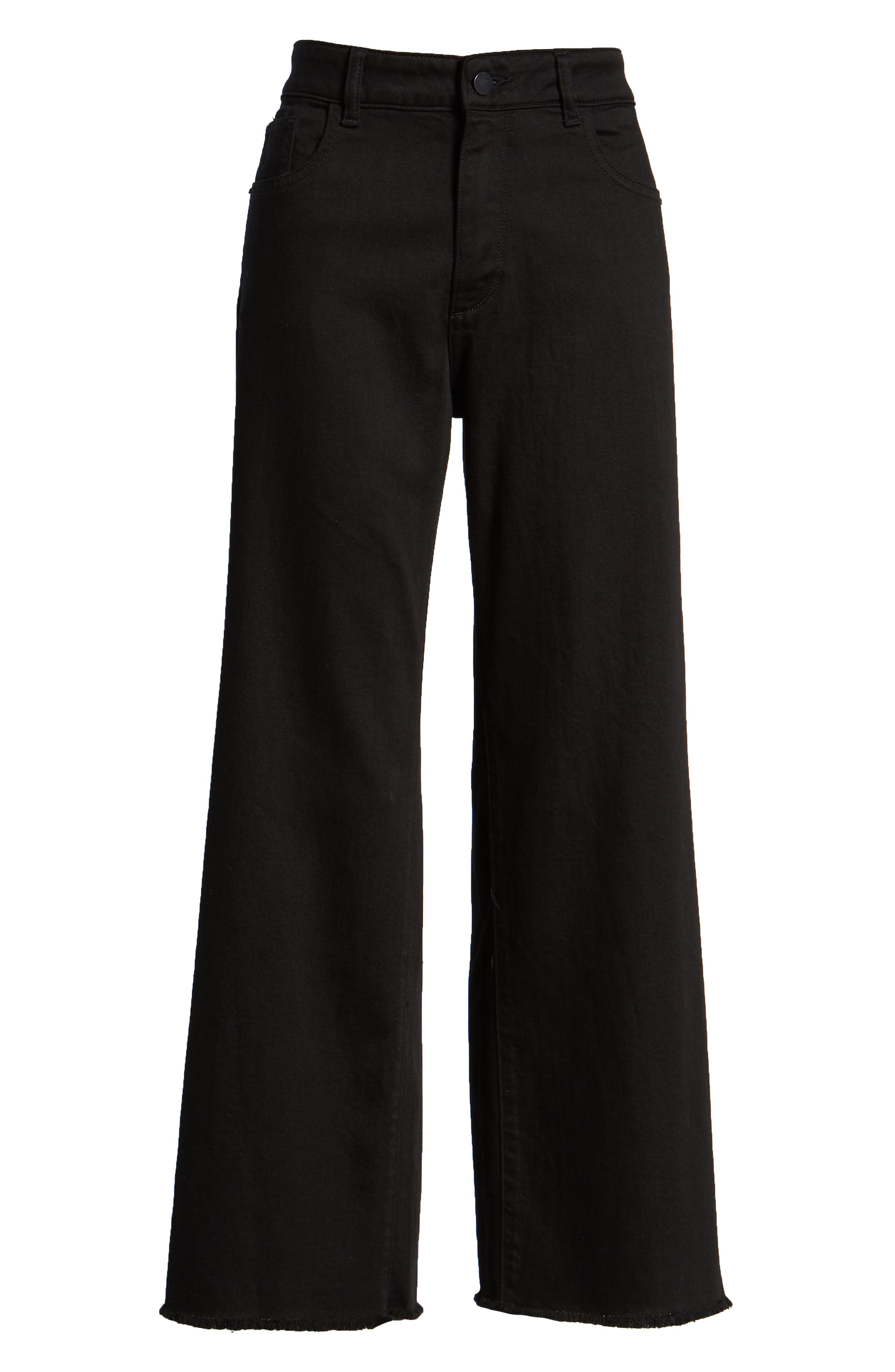 Hepburn High Waist Raw Hem Wide Leg Jeans,                             Alternate thumbnail 7, color,                             001