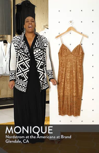 Metallic Lace Midi Sheath Dress, sales video thumbnail