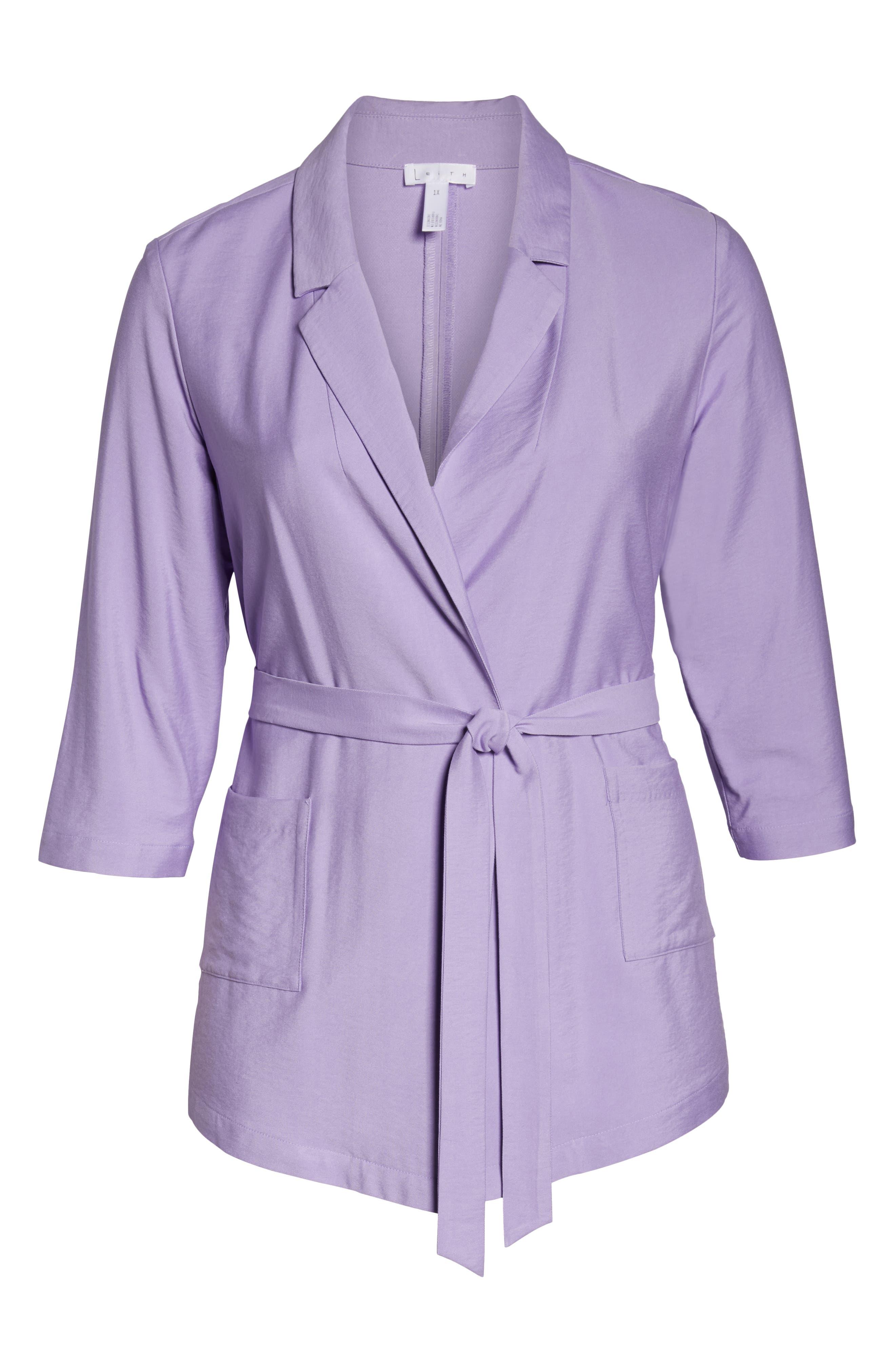 Belted Jacket,                             Alternate thumbnail 12, color,                             PURPLE BONNET