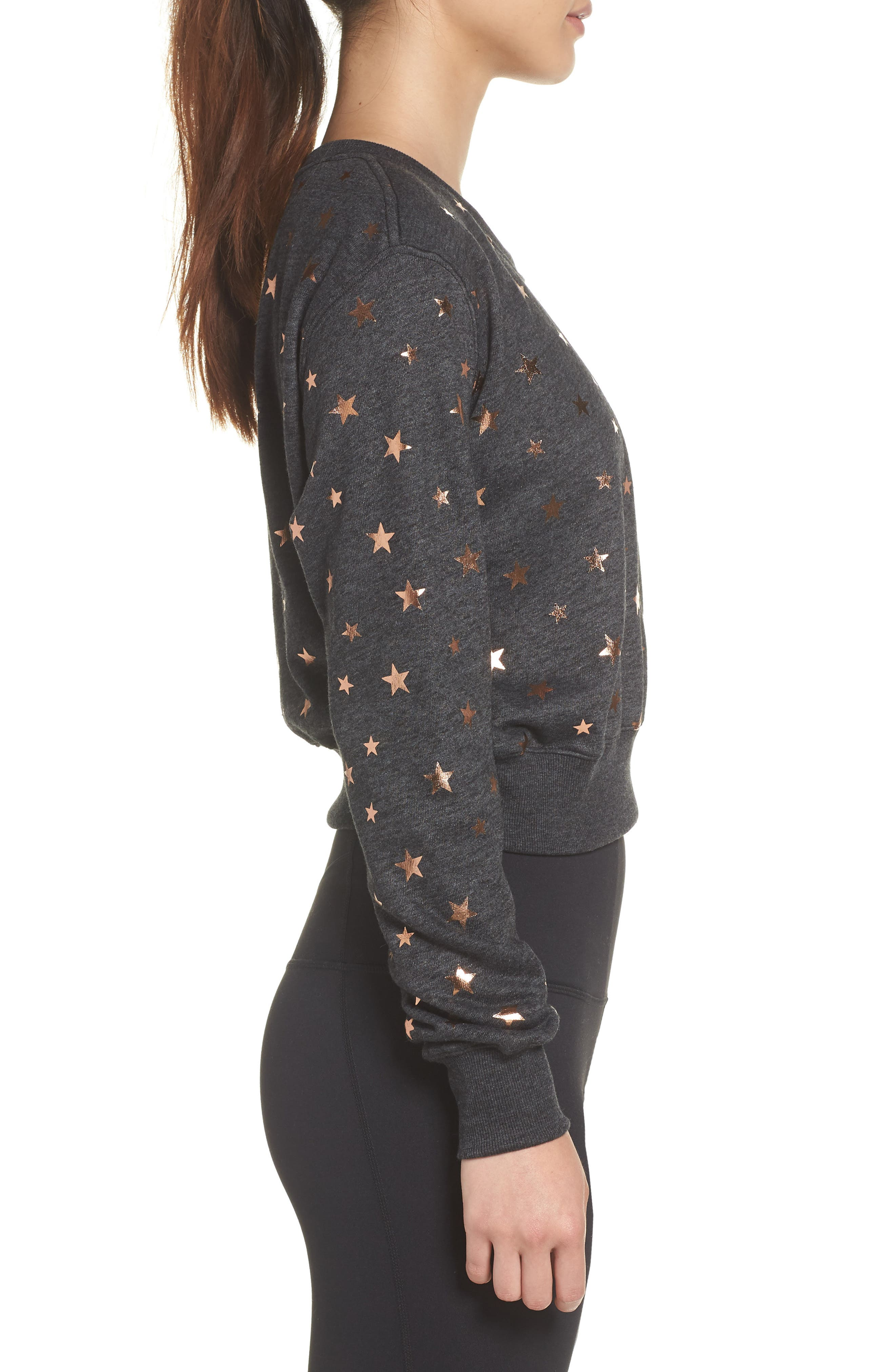 Stars Crop Pullover,                             Alternate thumbnail 3, color,                             STARRY VIBES - BLACK