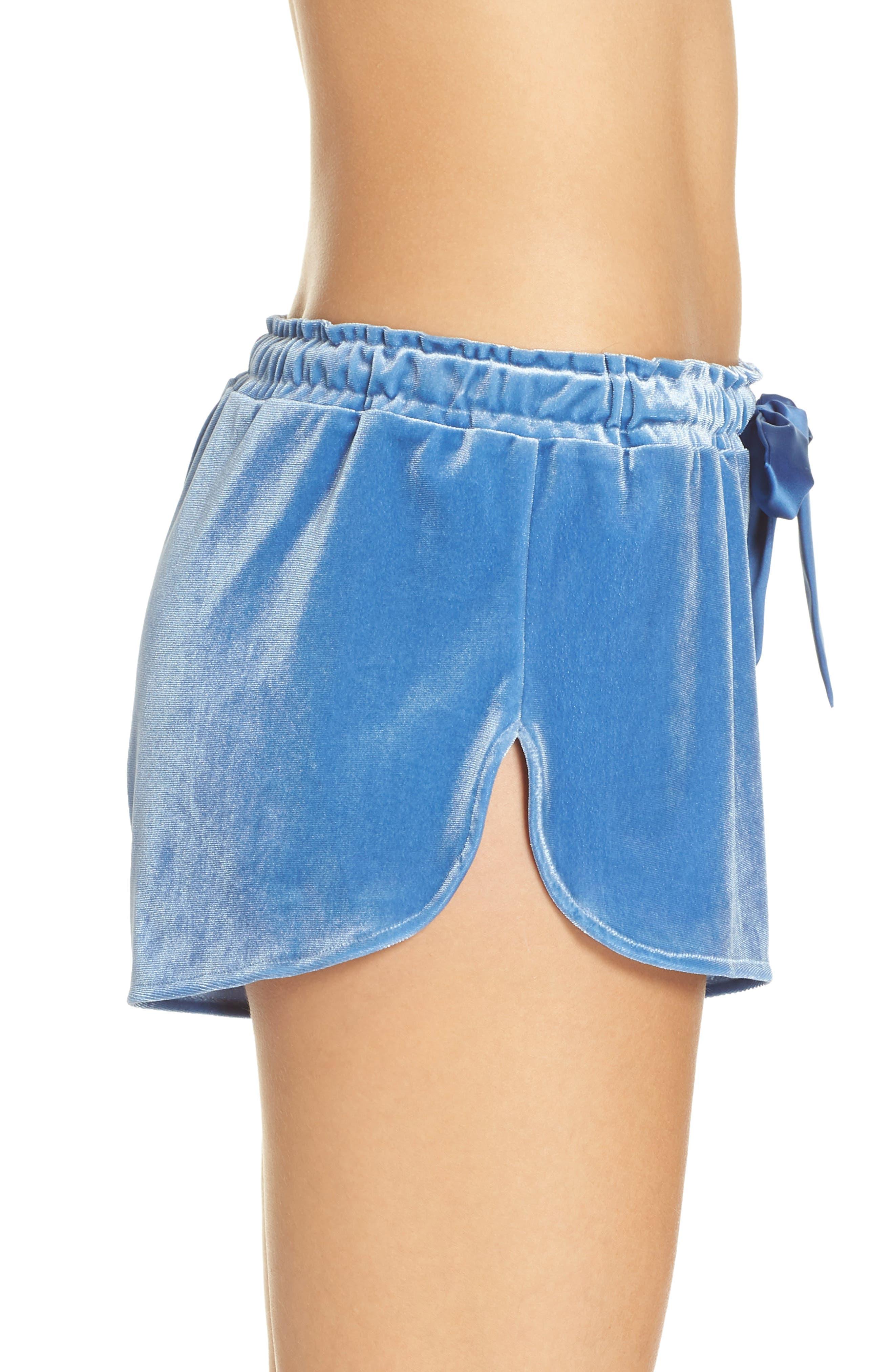Starry Night Velvet Pajama Shorts,                             Alternate thumbnail 3, color,                             BLUE DELFT