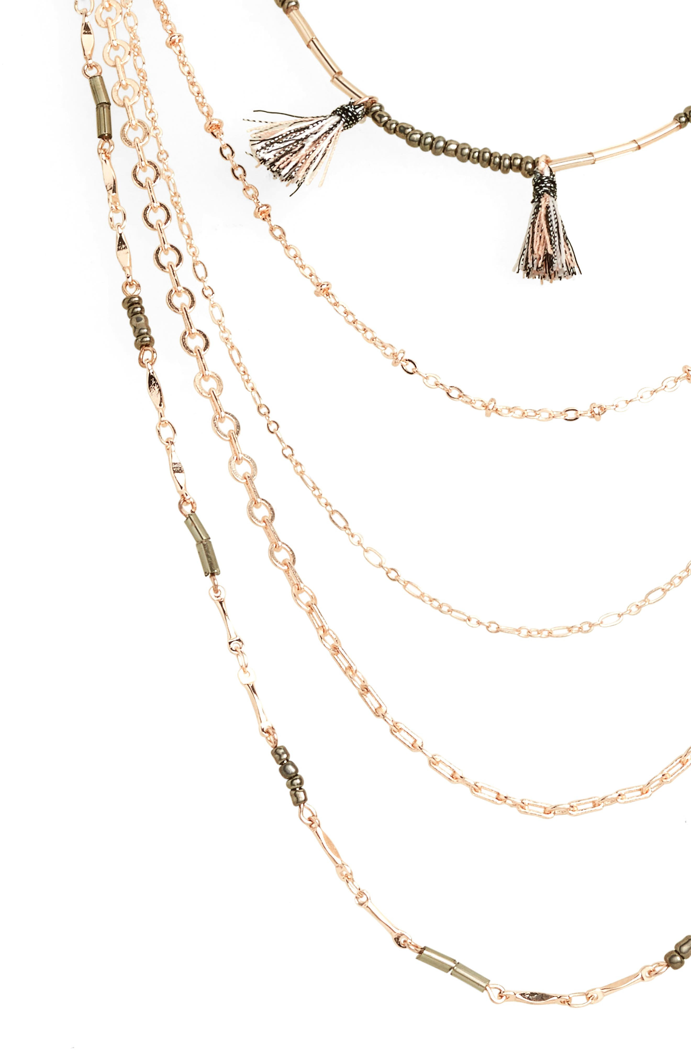 Metallic Pom & Tassel Necklace,                             Alternate thumbnail 3, color,                             650
