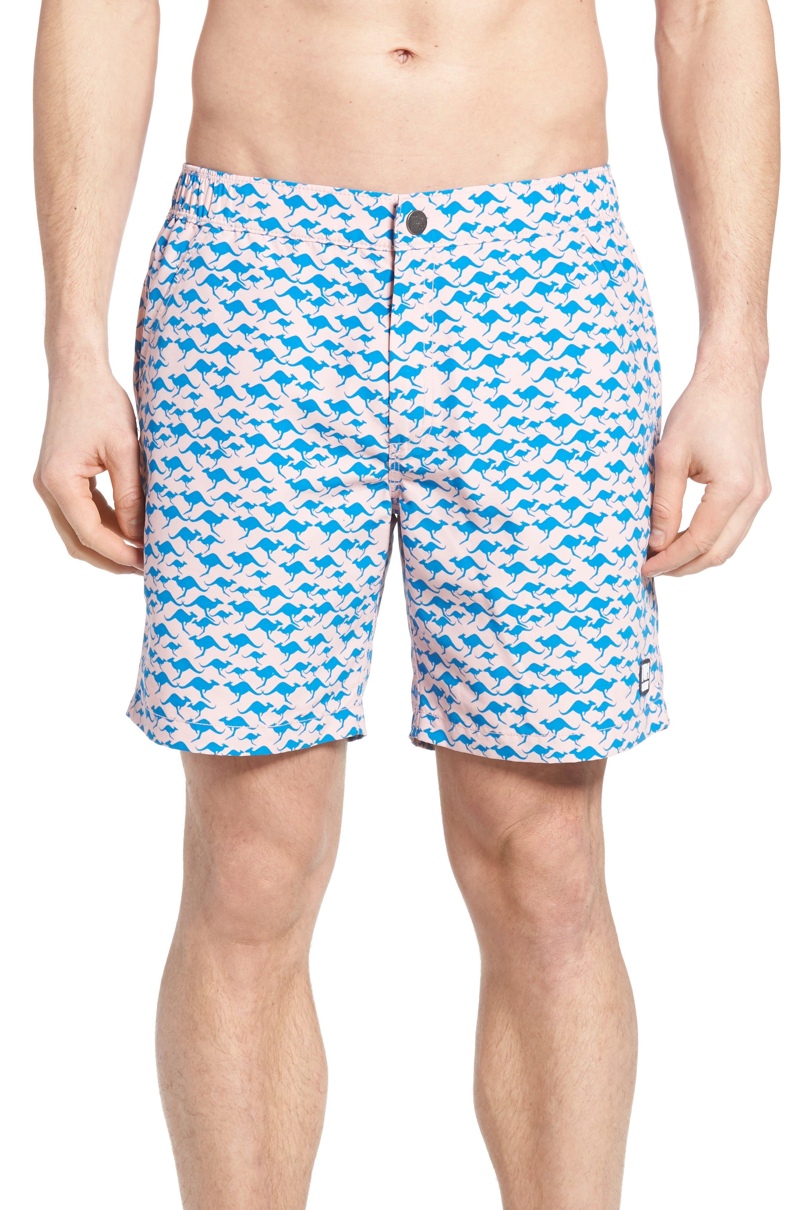 Kangaroo Print Swim Trunks,                         Main,                         color, 401