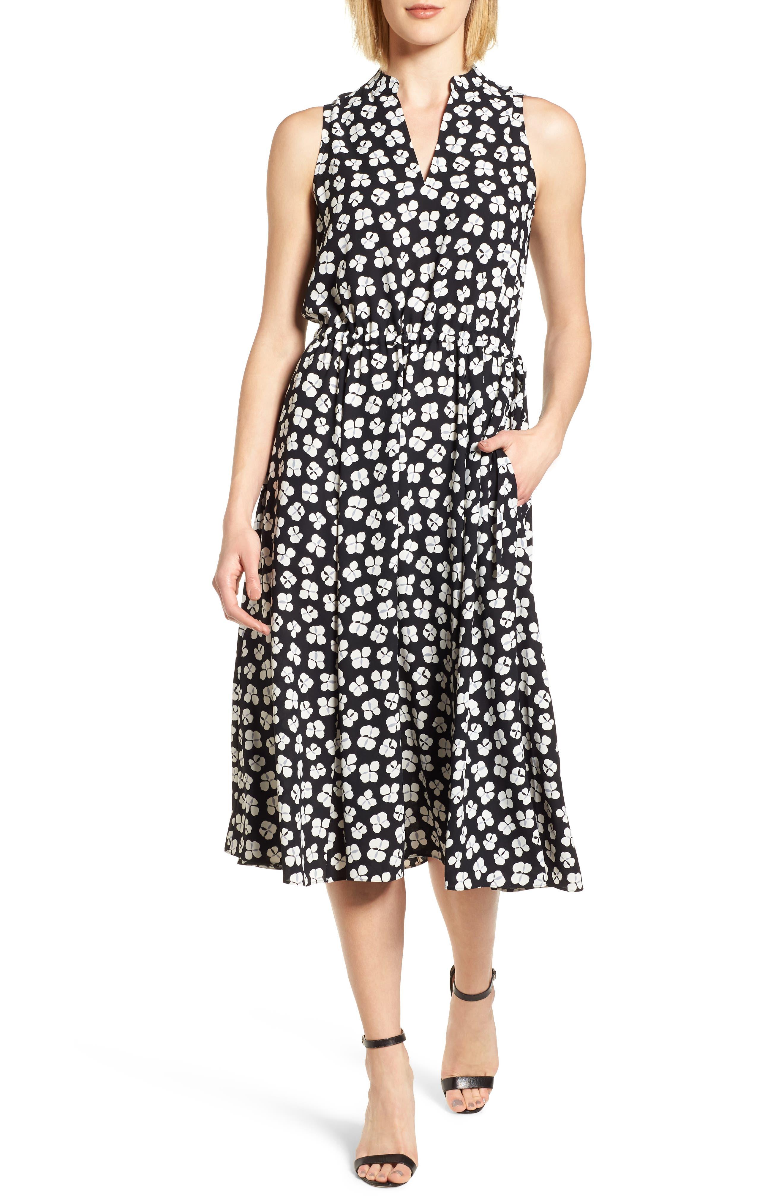 Zuma Petal Drawstring Midi Dress,                             Main thumbnail 1, color,                             001
