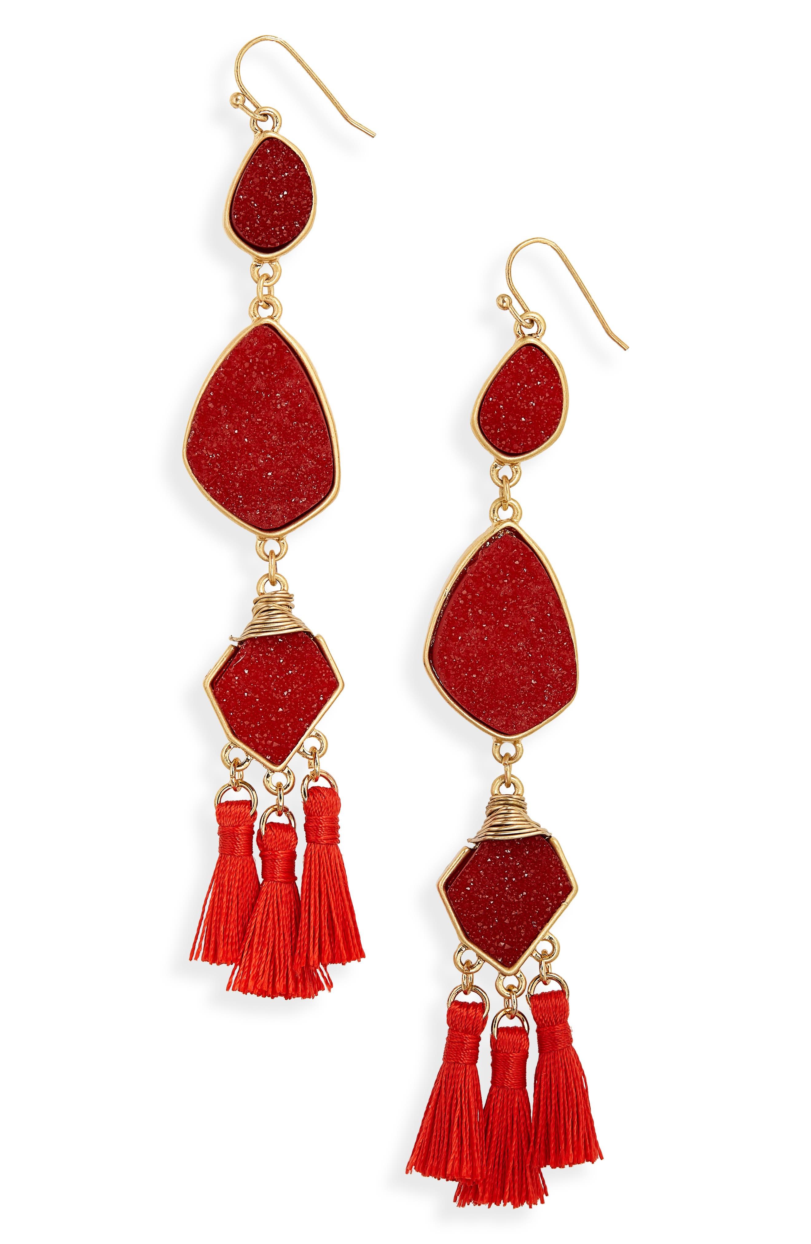 PANACEA Drusy Tassel Earrings in Red