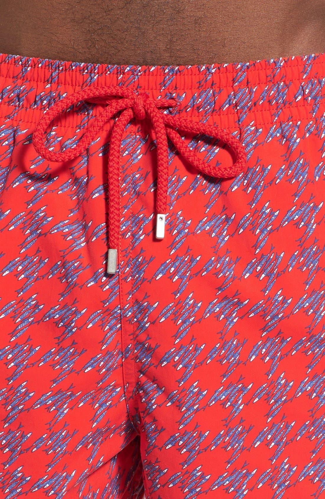 'Moorea - Fish Foot' Print Swim Trunks,                             Alternate thumbnail 4, color,                             612