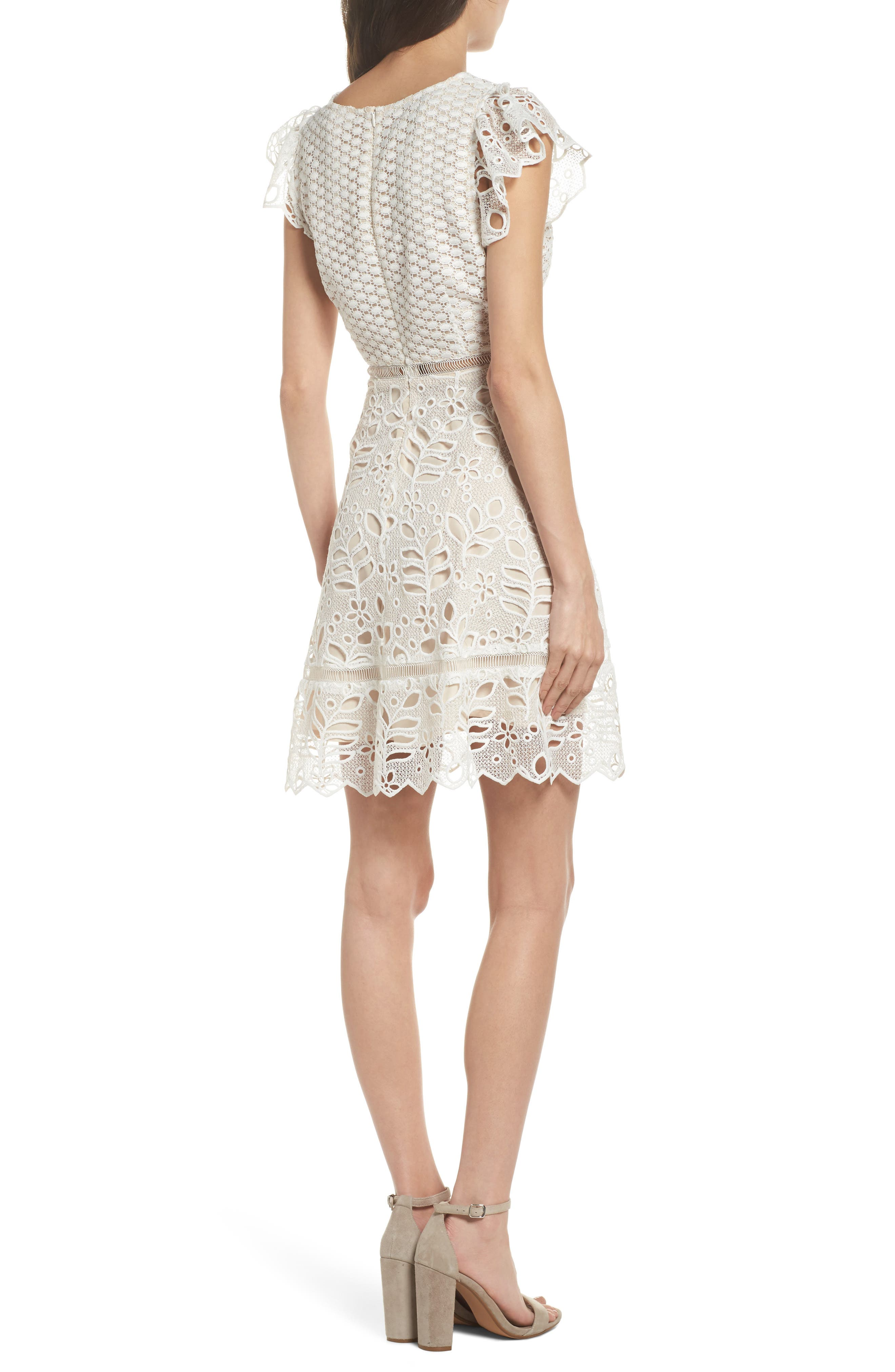 Ariane Mix Lace Dress,                             Alternate thumbnail 3, color,