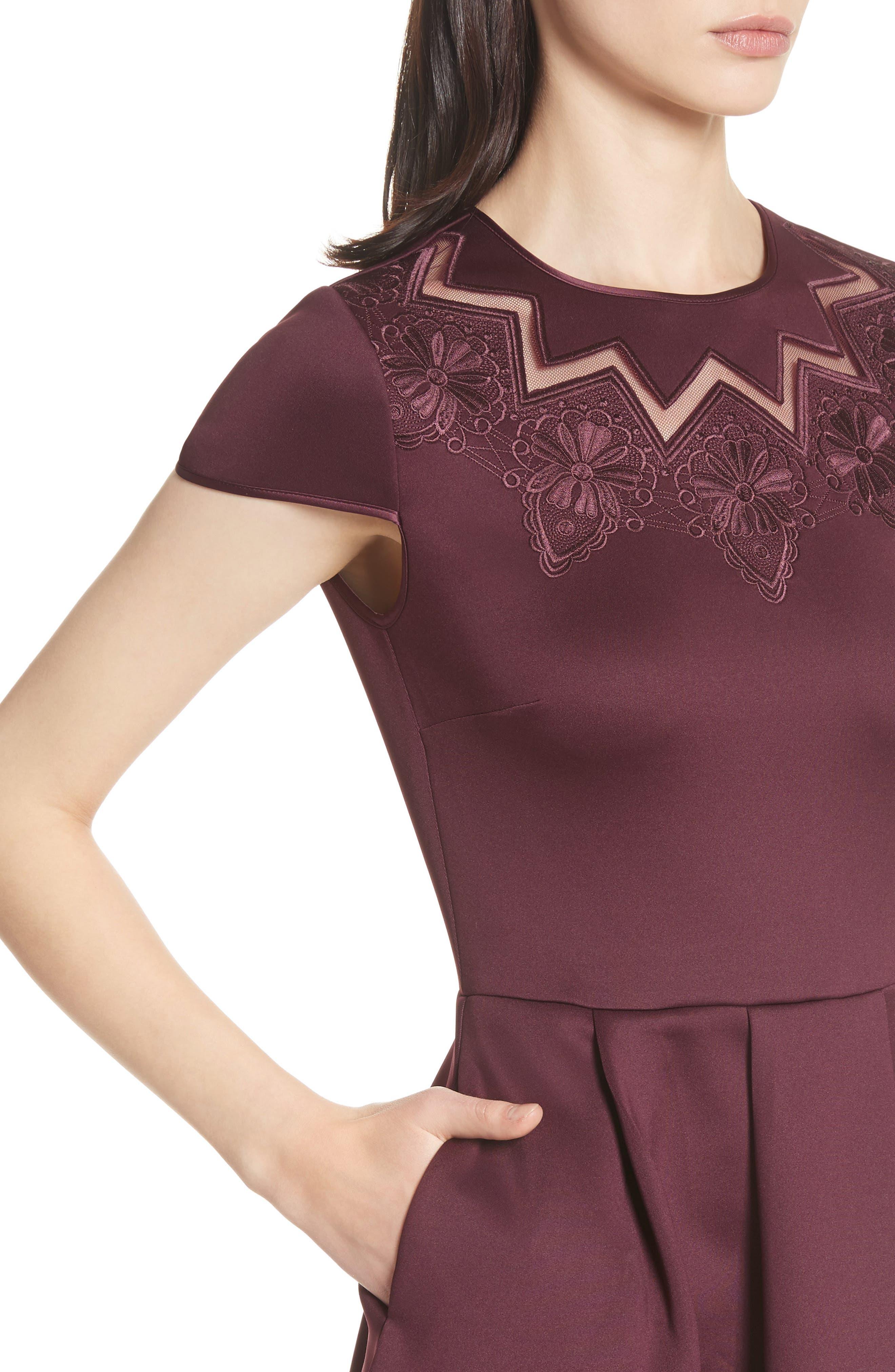 Mesh & Lace Trim Skater Dress,                             Alternate thumbnail 8, color,