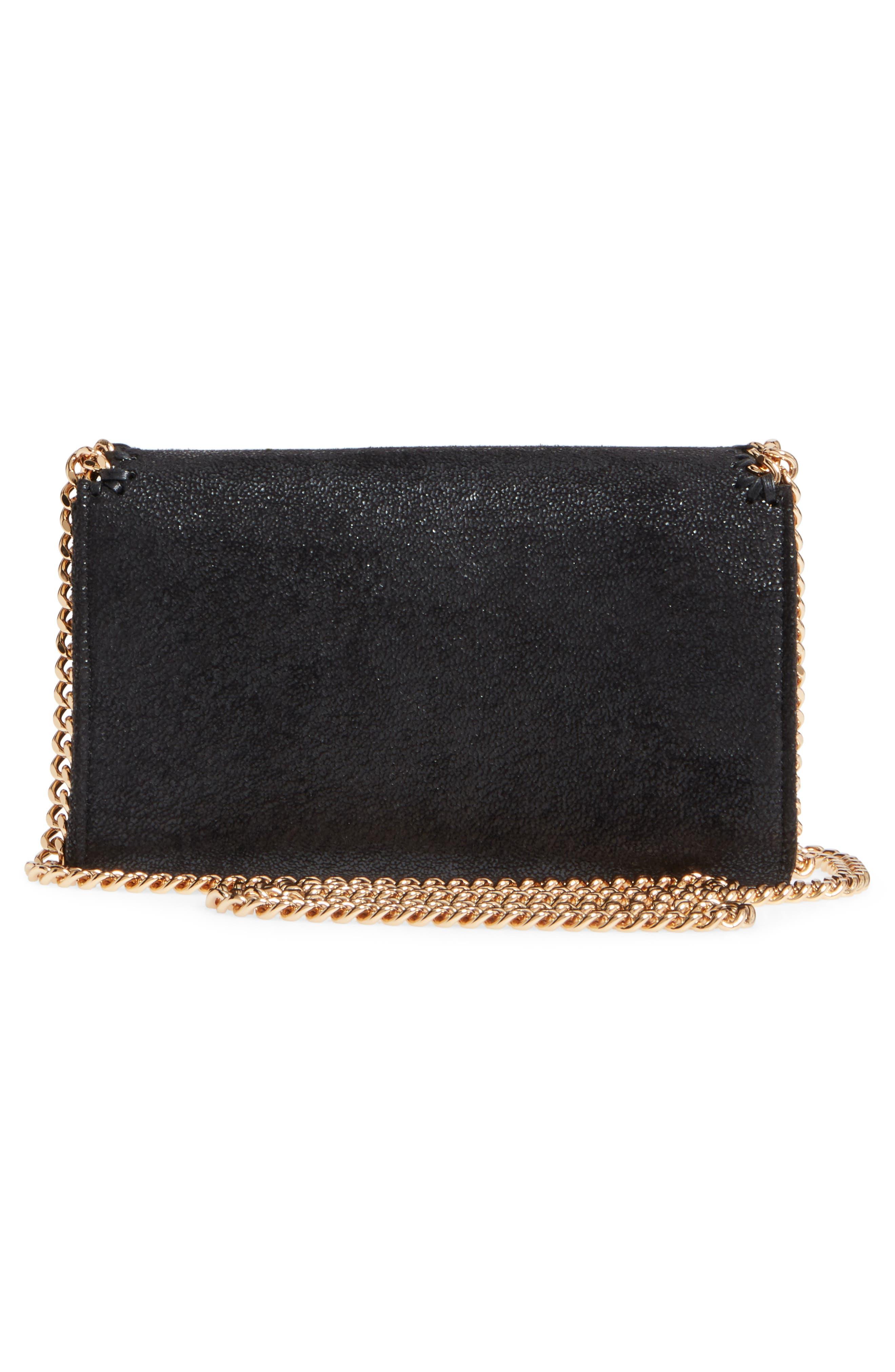 STELLA MCCARTNEY,                             Shaggy Deer Faux Leather Crossbody Bag,                             Alternate thumbnail 3, color,                             BLACK