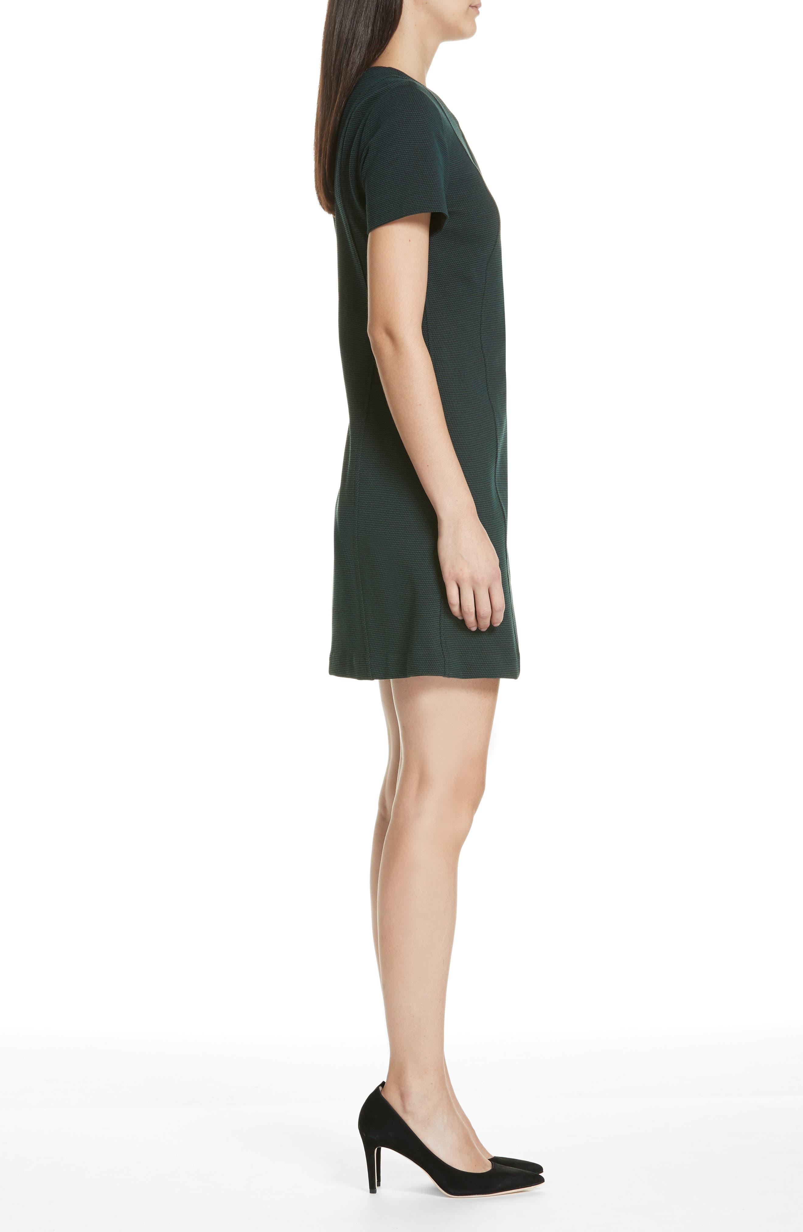 Easy Snap Textured Dress,                             Alternate thumbnail 3, color,                             GREEN POPLAR/ POP NAVY