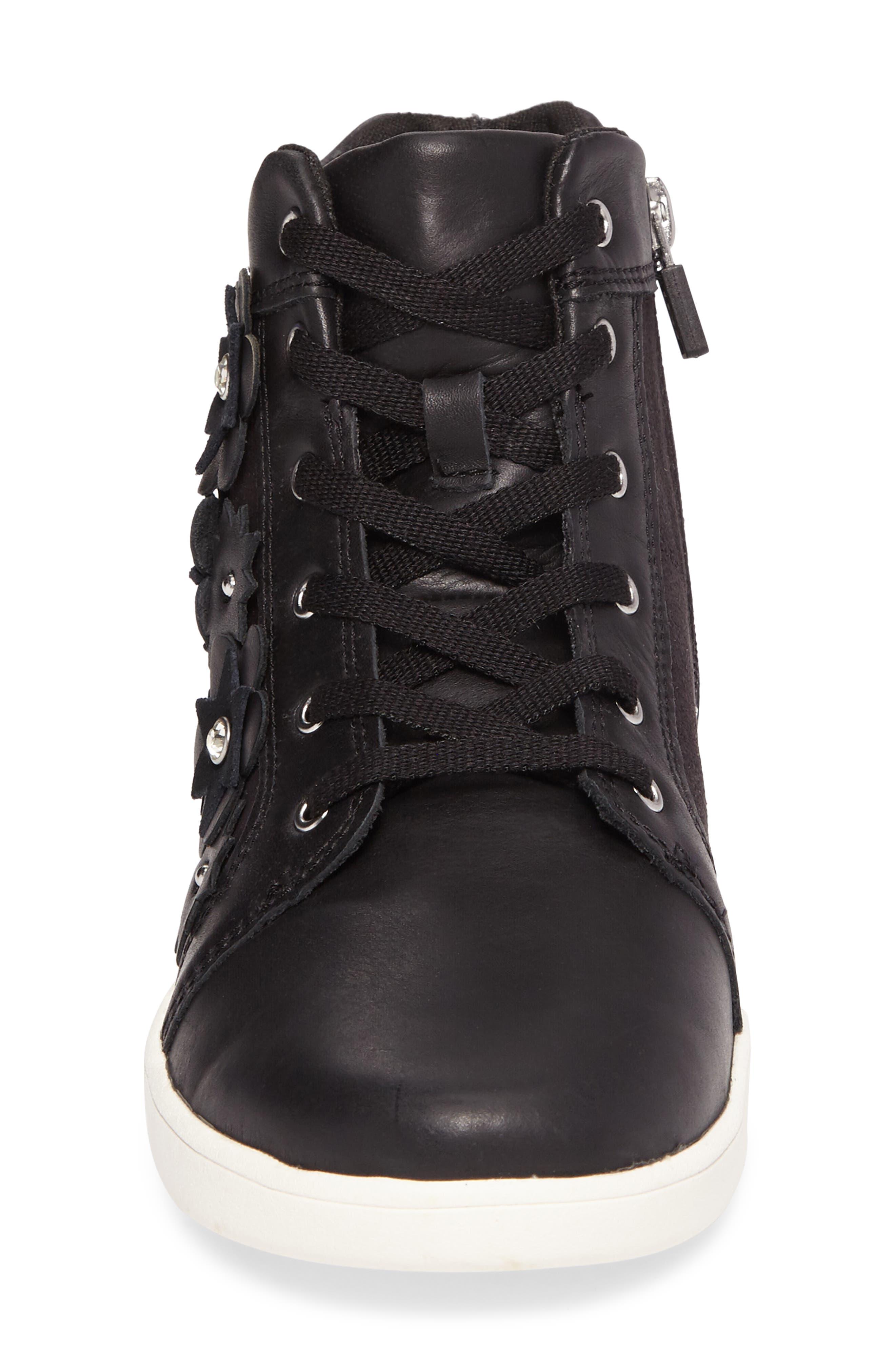 Schyler Petal Embellished High Top Sneaker,                             Alternate thumbnail 4, color,                             001