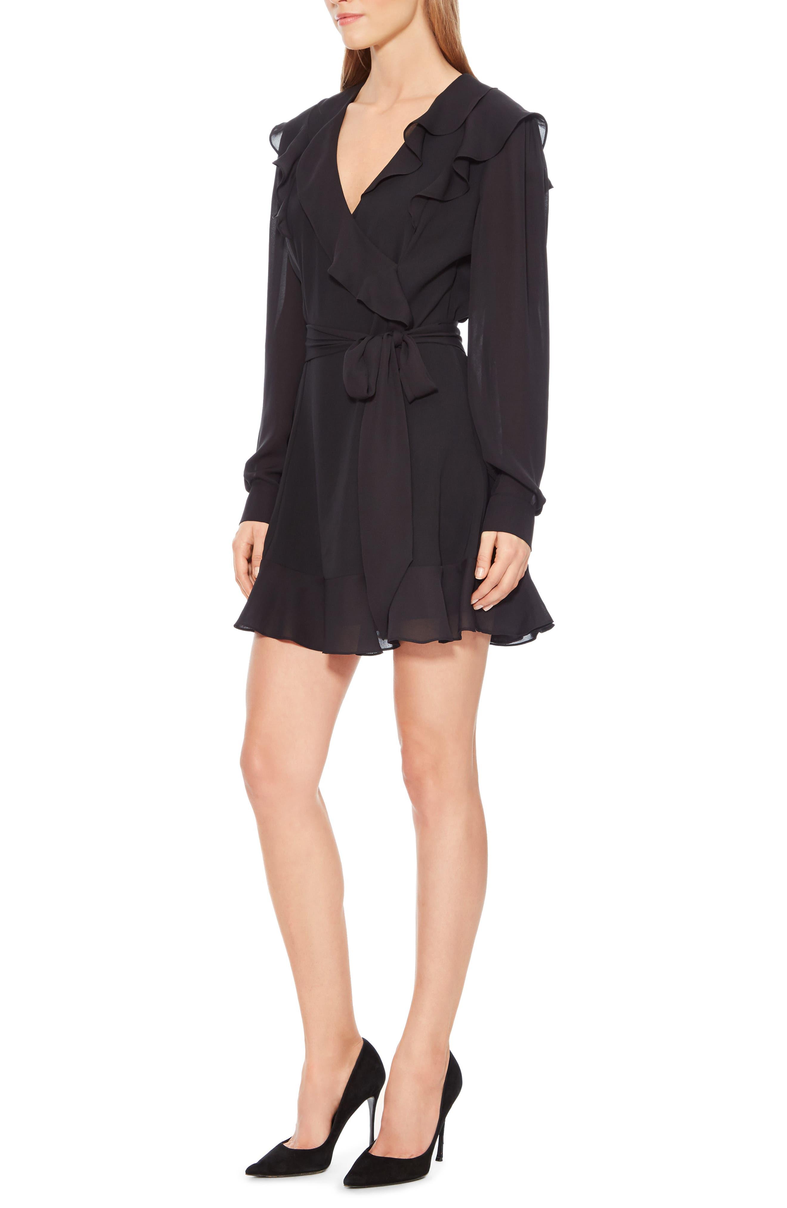 Pauline Tie Waist Dress,                             Alternate thumbnail 3, color,                             BLACK