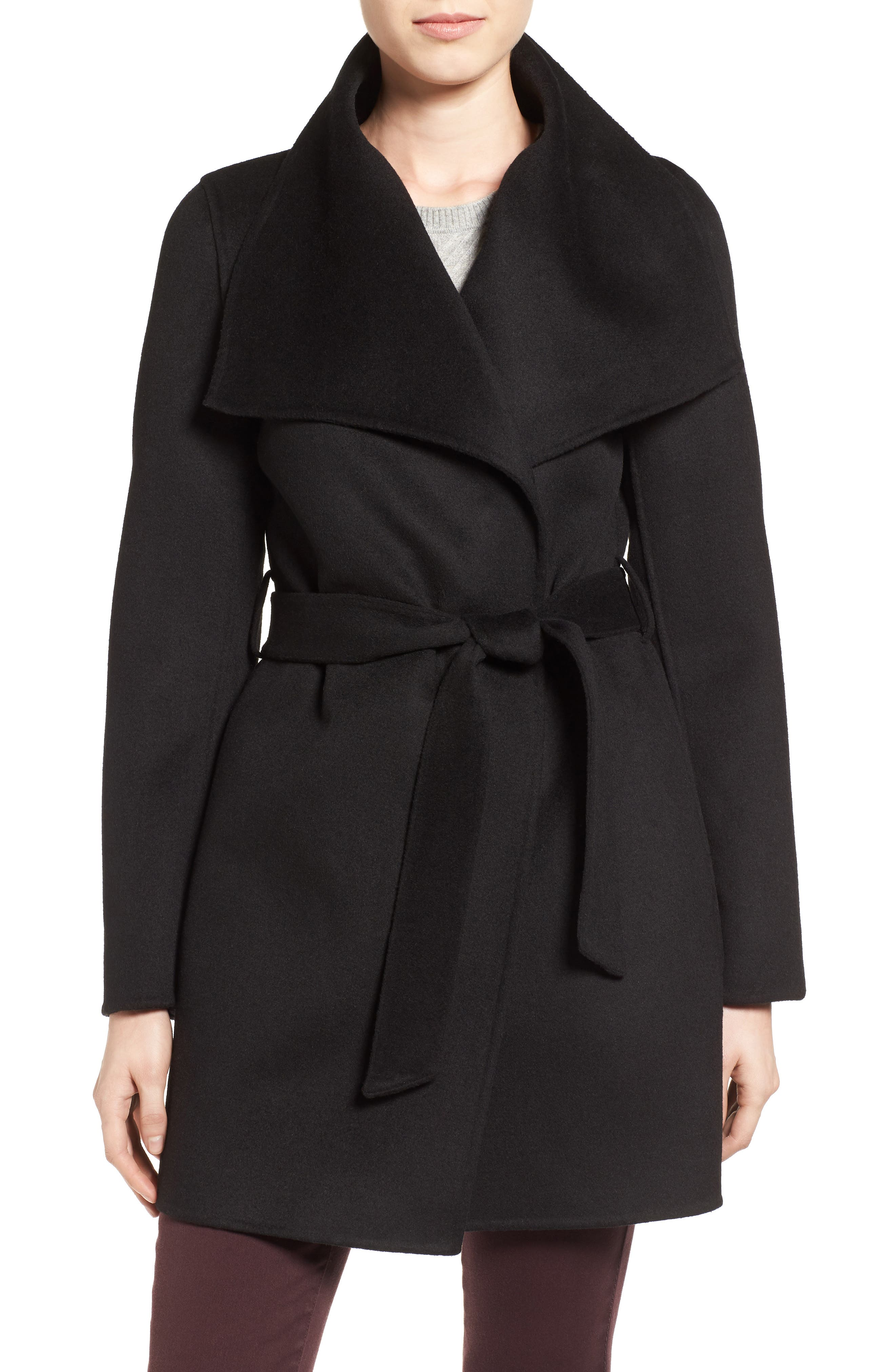 'Ella' Belted Double Face Wool Blend Wrap Coat,                         Main,                         color, 001