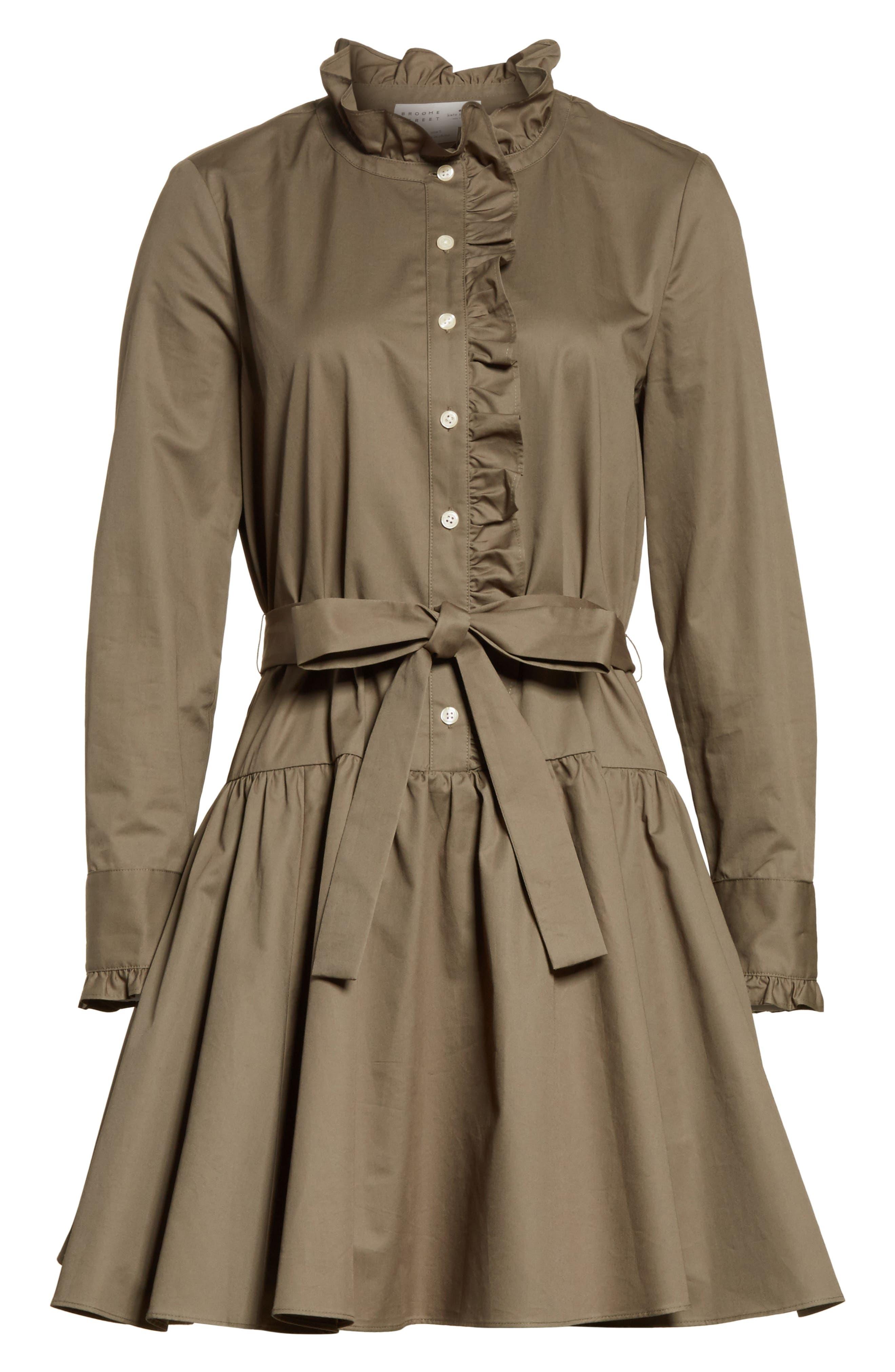 ruffle trim poplin shirtdress,                             Alternate thumbnail 6, color,                             301