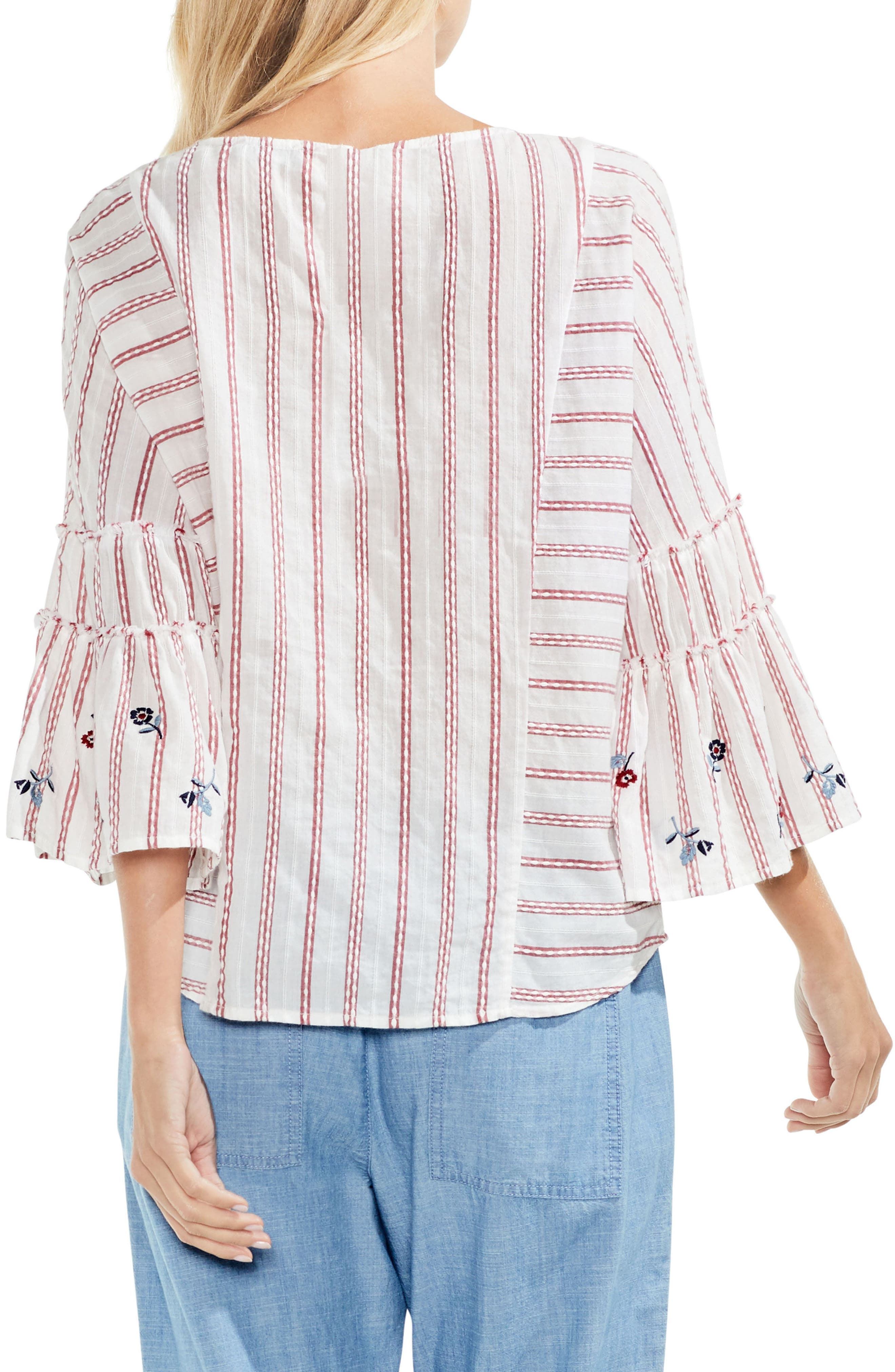 Ruffle Bell Sleeve Stripe Embroidered Blouse,                             Alternate thumbnail 4, color,