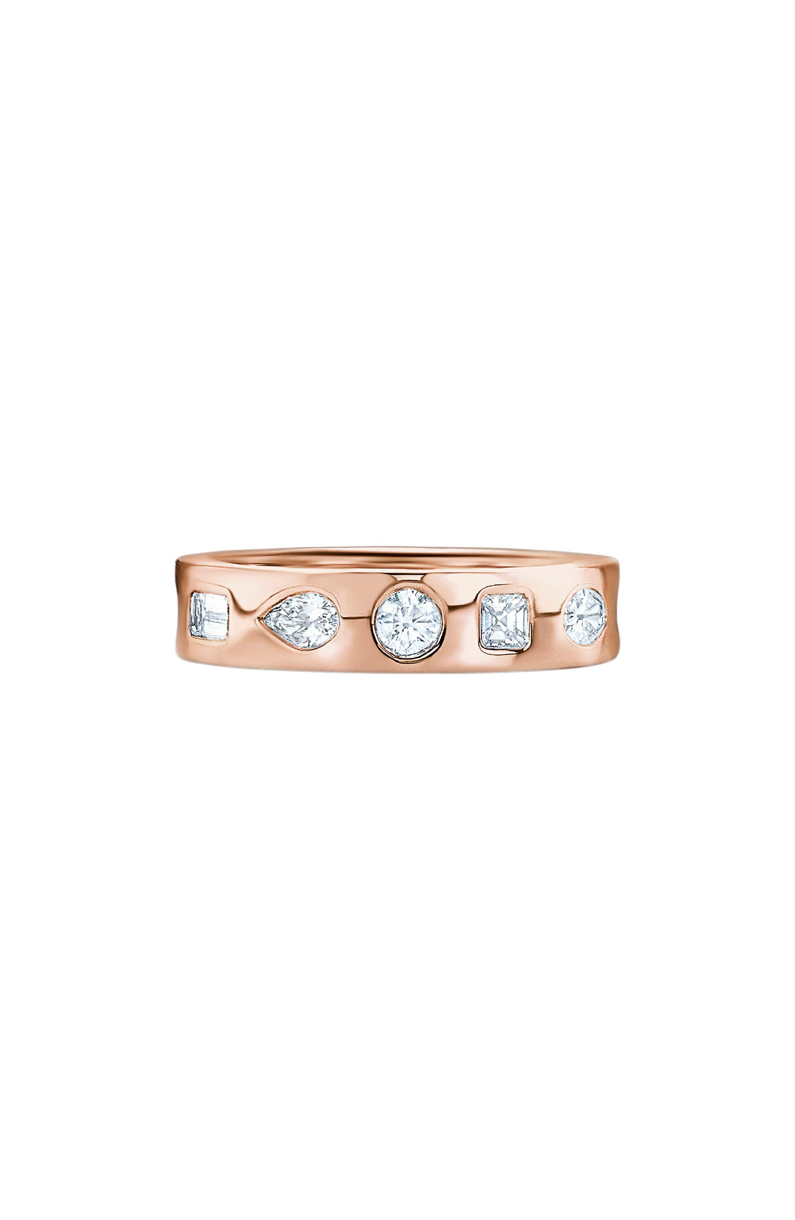 KWIAT Multi Shape Diamond Stacking Ring in Rose Gold