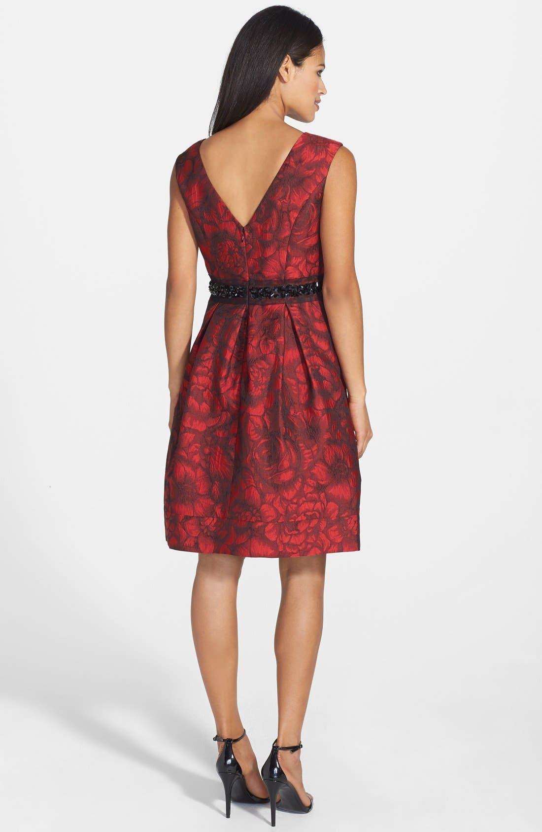 Embellished Waist Brocade Fit & Flare Dress,                             Alternate thumbnail 4, color,                             614