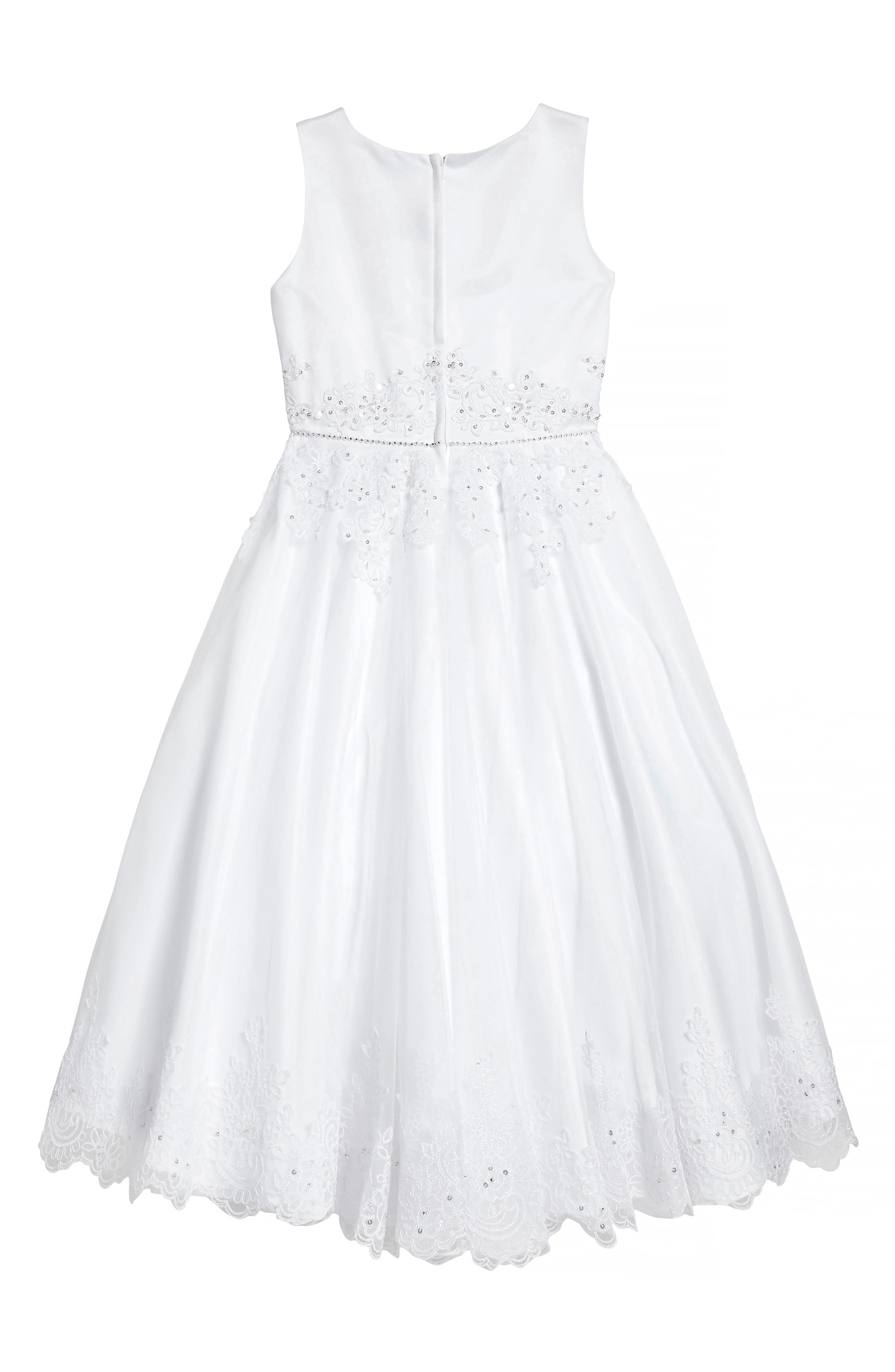 Satin & Tulle First Communion Dress,                             Alternate thumbnail 2, color,