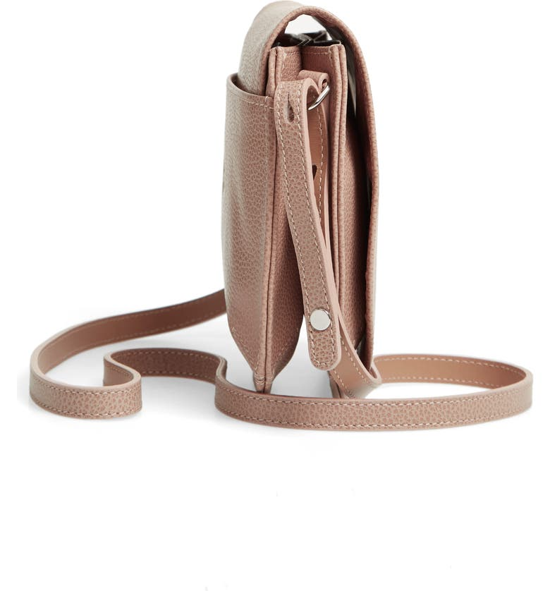 Shop Longchamp Small Le Foulonne Leather Crossbody Bag - Beige In ...