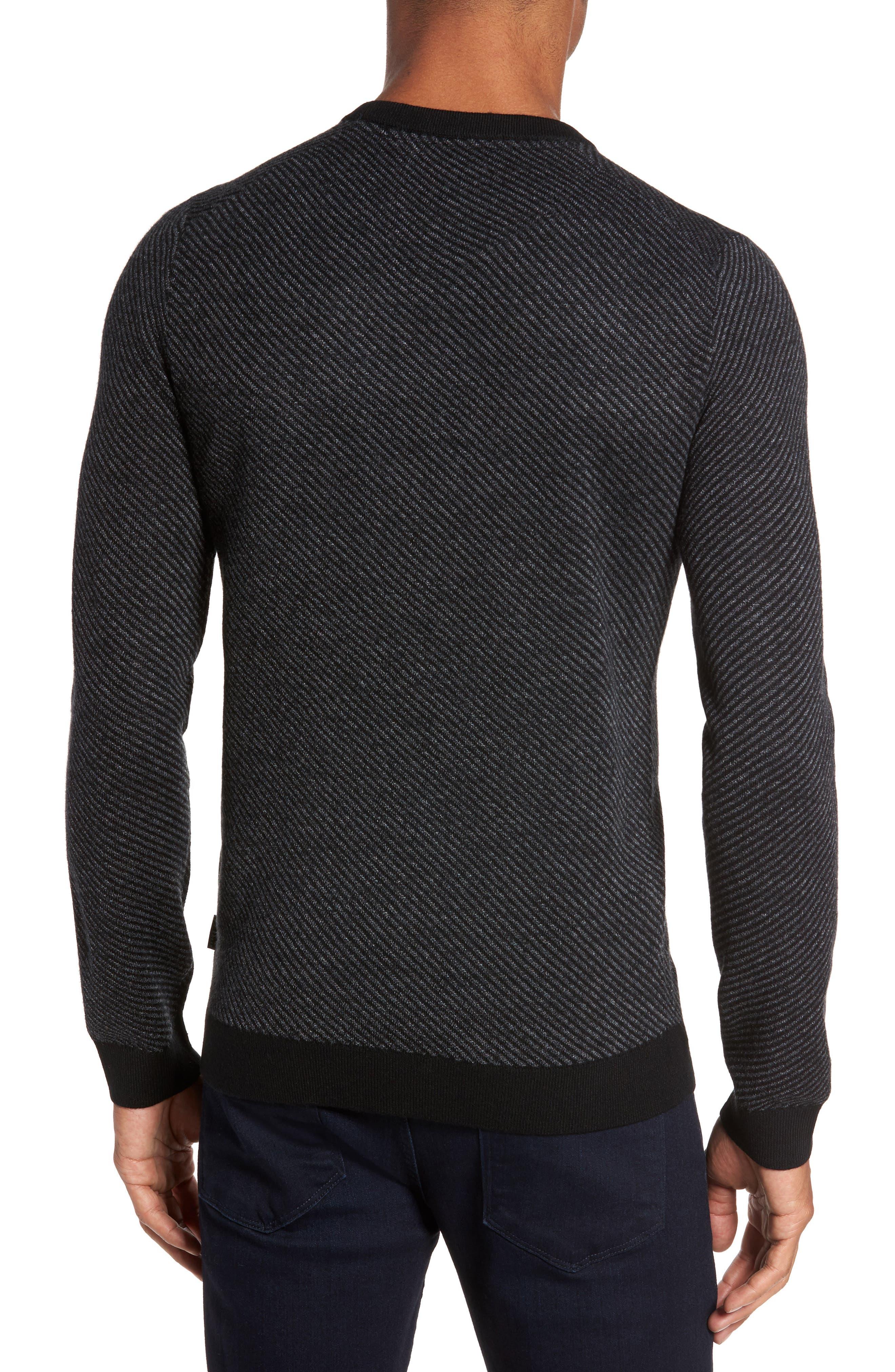 Cinamon Interest Stitch Crewneck Sweater,                             Alternate thumbnail 2, color,                             001