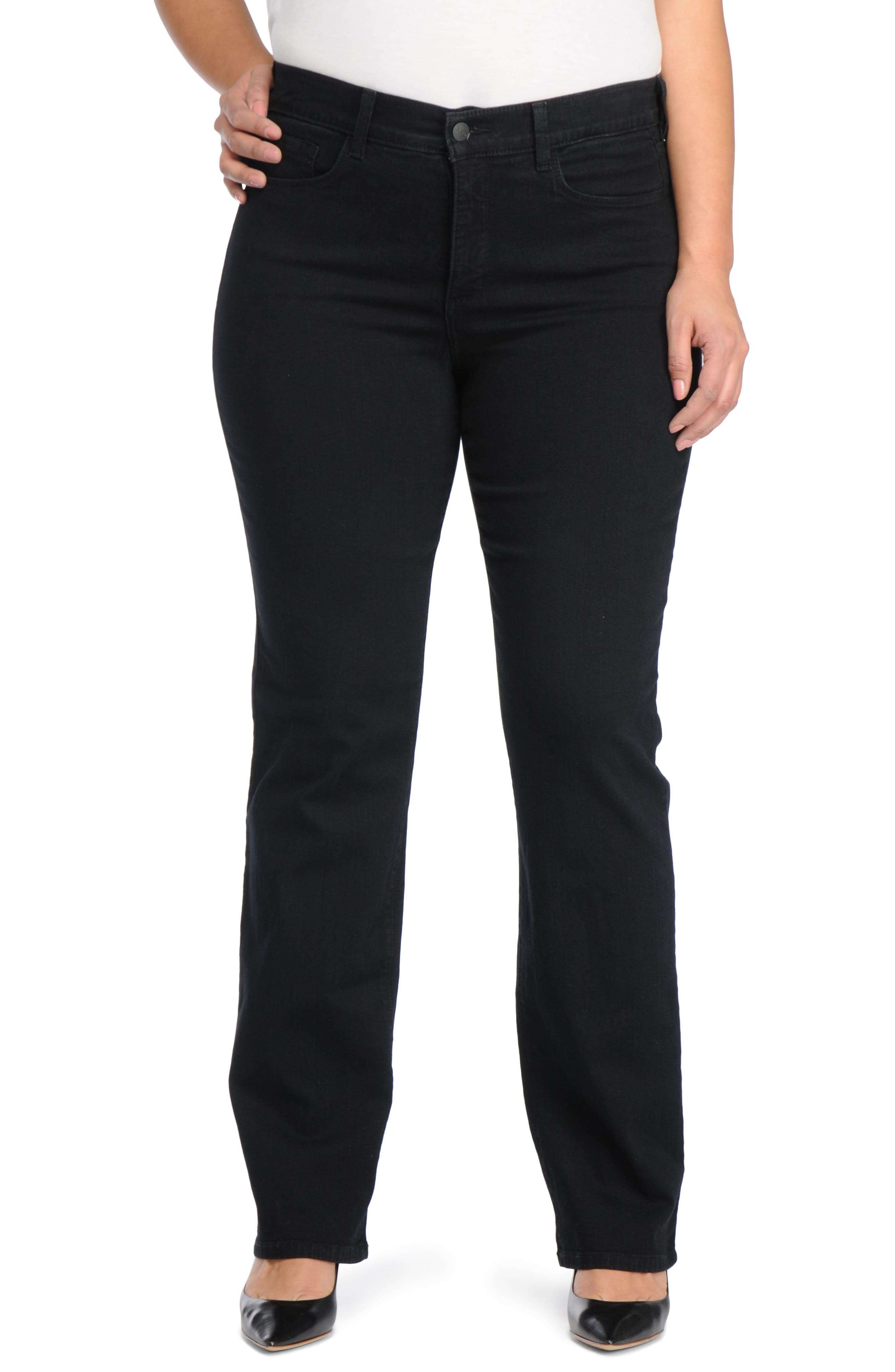 Marilyn Stretch Straight Leg Jeans,                         Main,                         color, BLACK