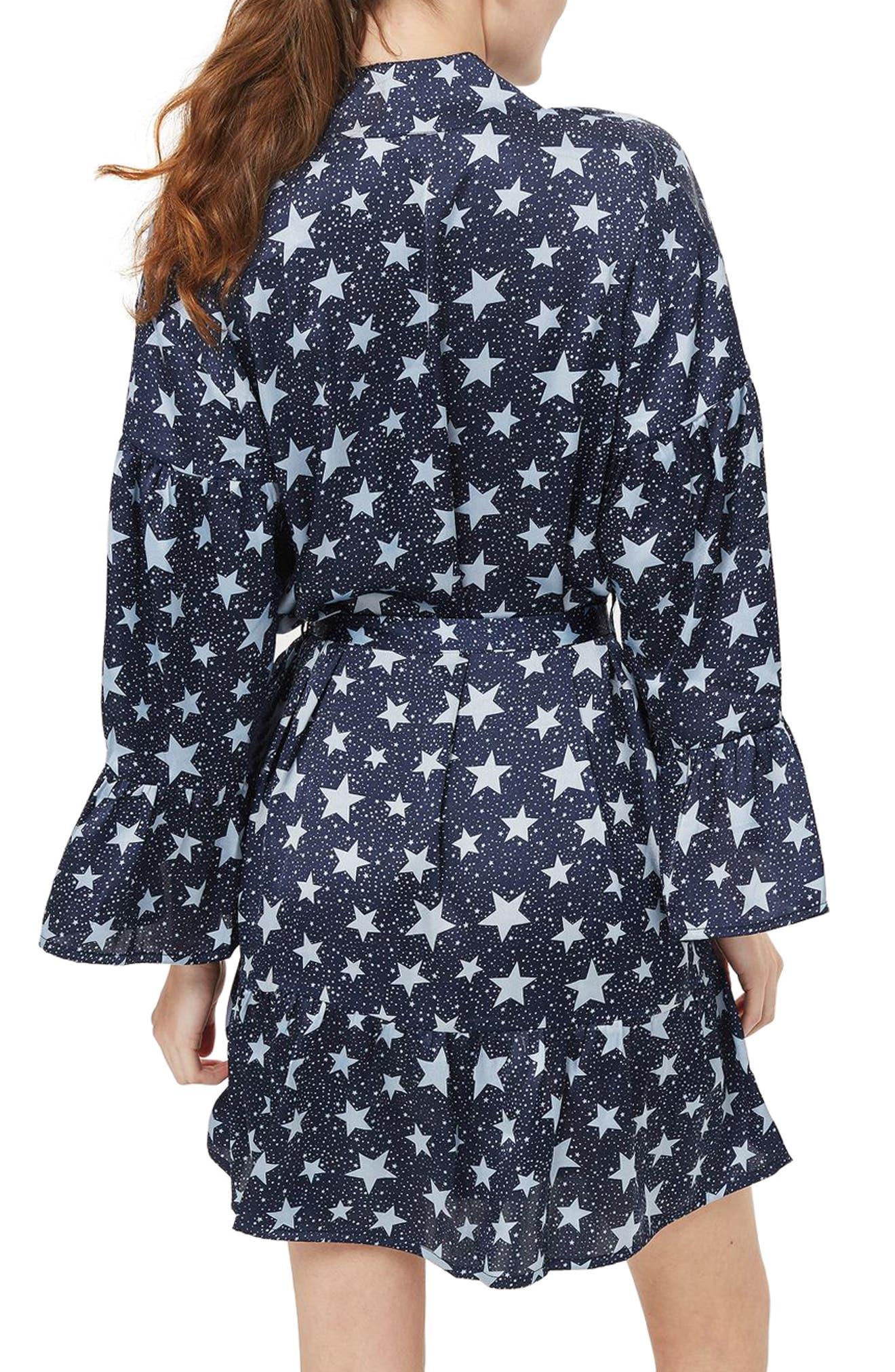 Star Satin Short Robe,                             Alternate thumbnail 2, color,                             410