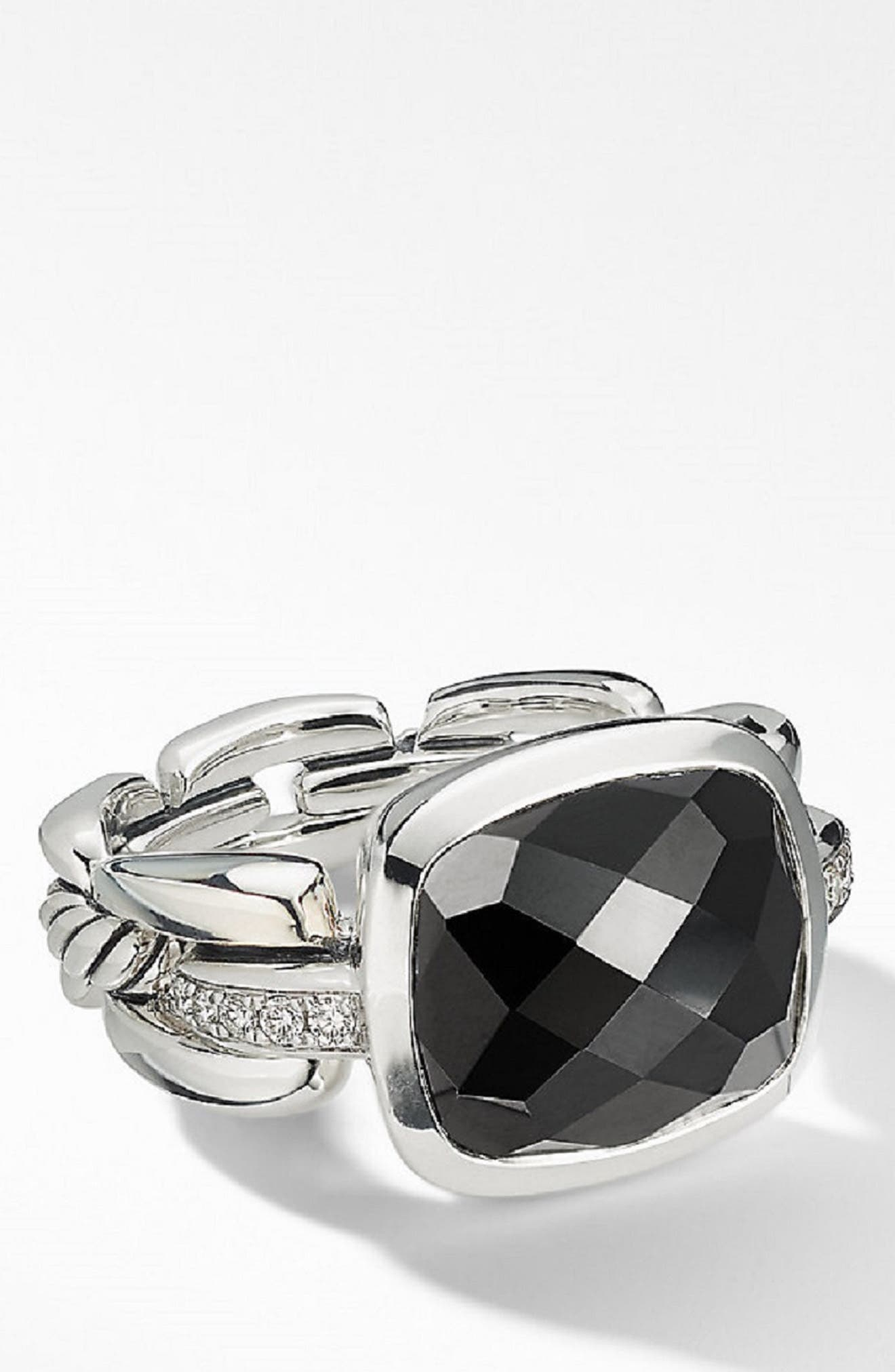 Wellesley Link Statement Ring with Diamonds,                             Main thumbnail 1, color,                             BLACK ONYX