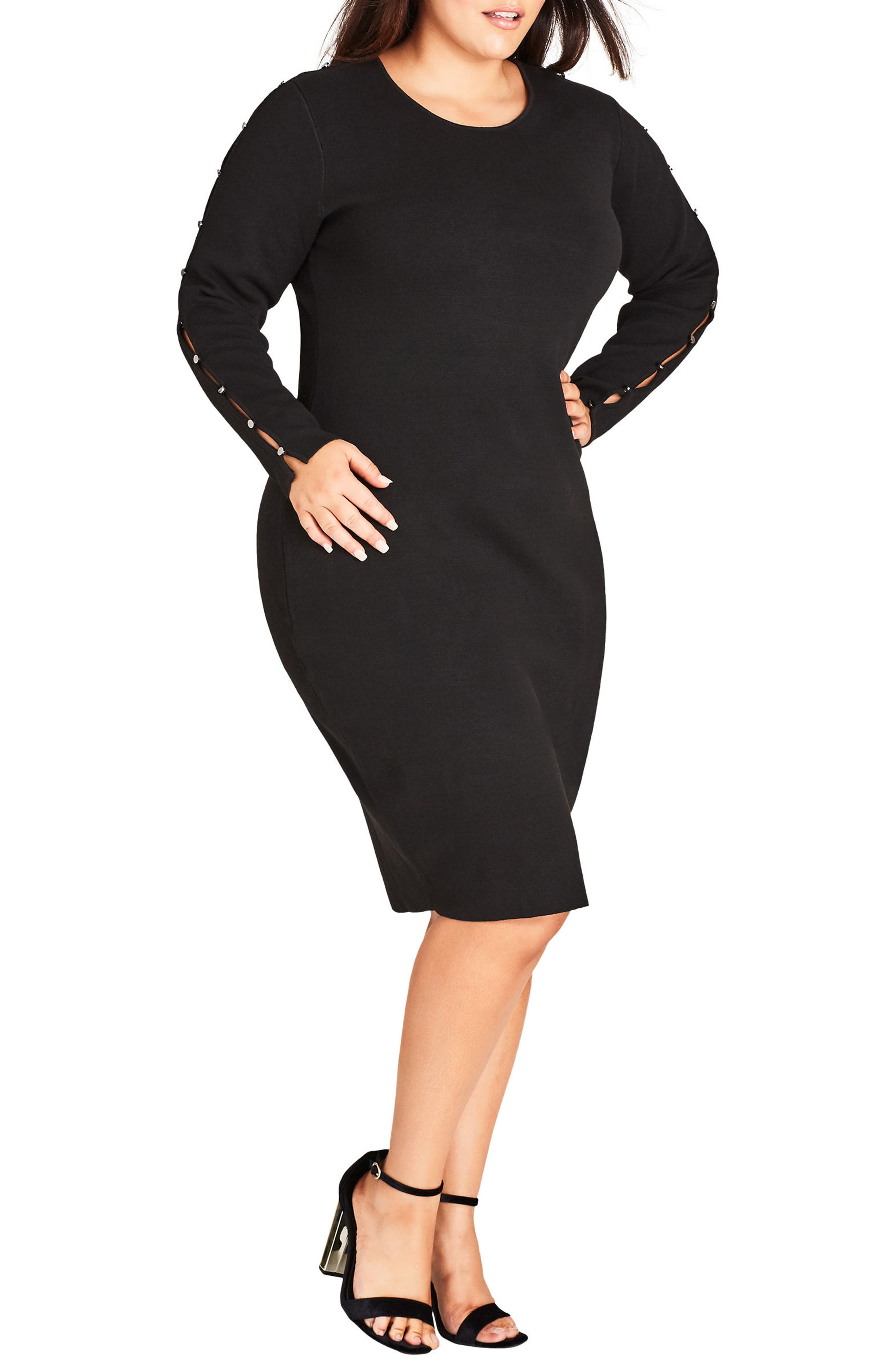Stud Love Knit Dress,                         Main,                         color, BLACK