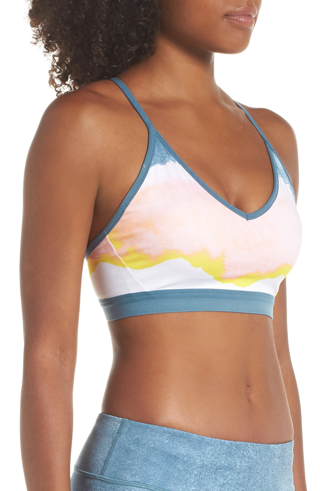 Indy Artist Sports Bra,                             Alternate thumbnail 3, color,                             WHITE/ CELESTIAL TEAL/ WHITE