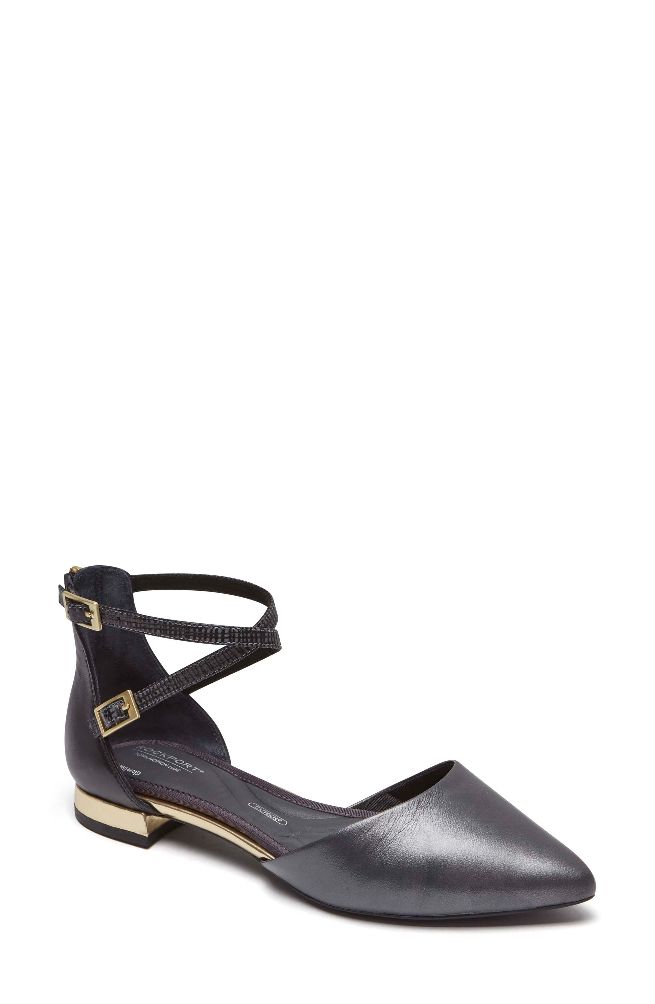 Total Motion<sup>®</sup> Zuly Luxe Ankle Strap Flat,                             Main thumbnail 1, color,                             BLACK LEATHER