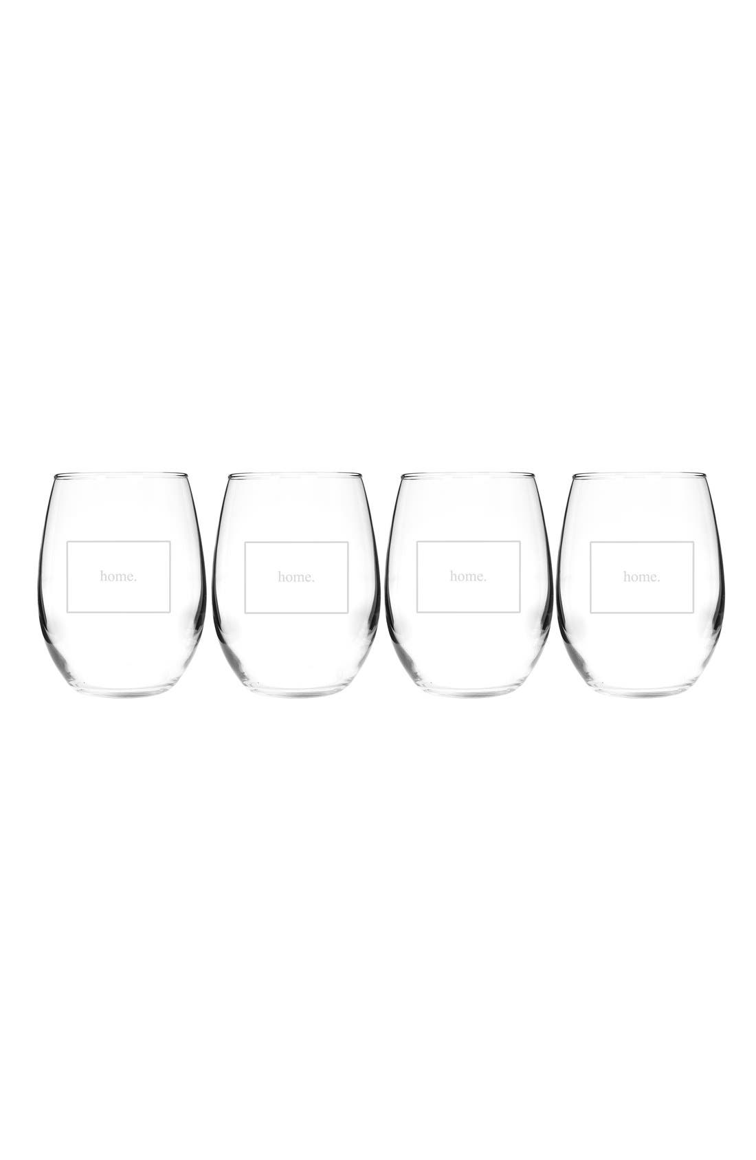 Home State Set of 4 Stemless Wine Glasses,                             Main thumbnail 7, color,