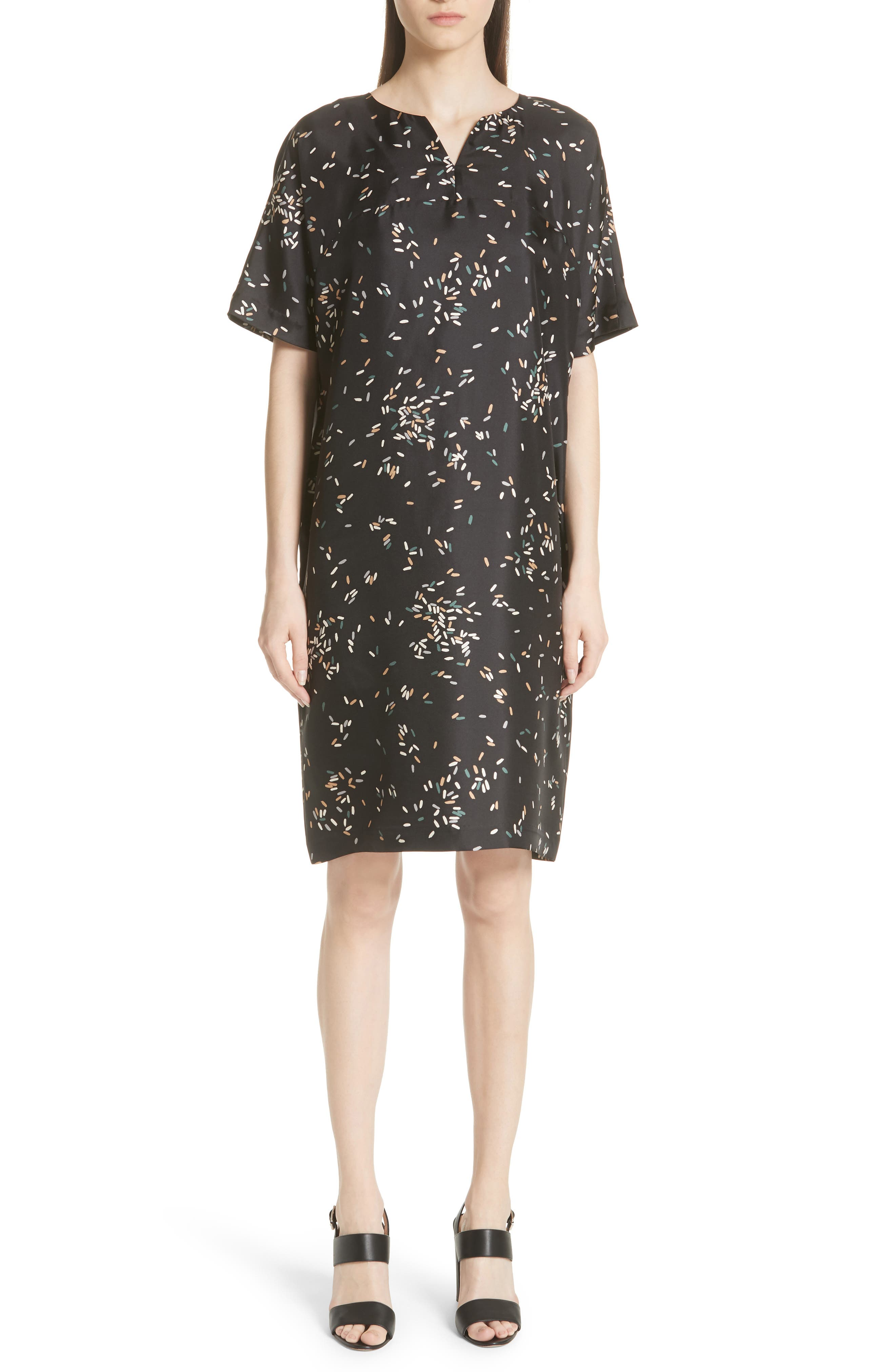 Thoren Silk Dress,                         Main,                         color, BLACK MULTI