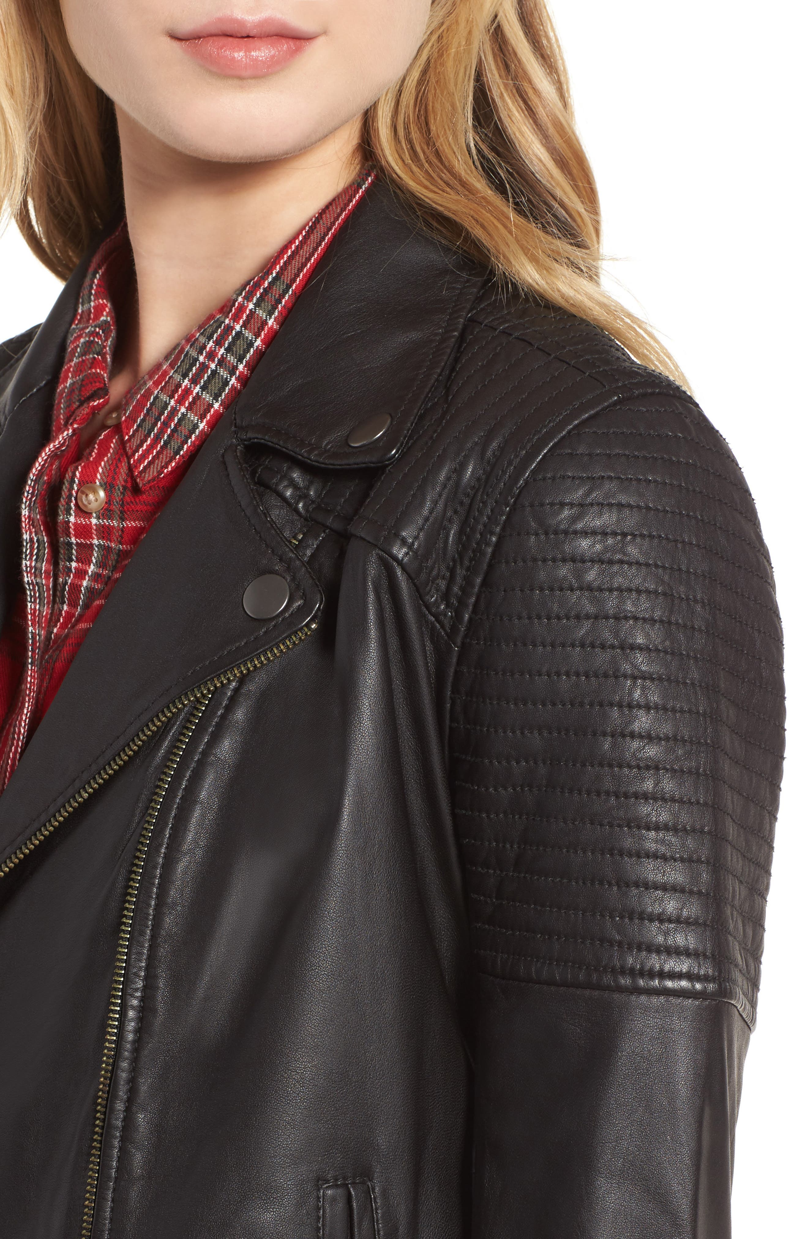 Quilted Leather Moto Jacket,                             Alternate thumbnail 5, color,                             001