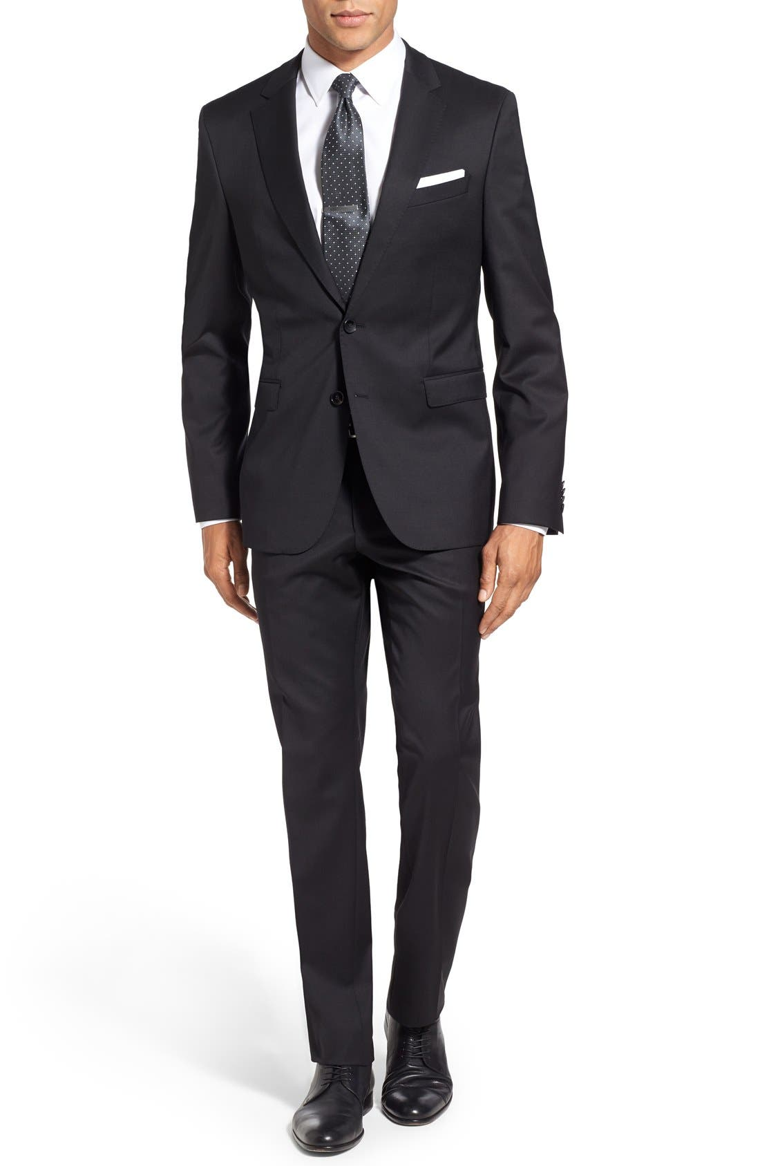 Ryan/Win Extra Trim Fit Solid Wool Suit,                         Main,                         color, BLACK