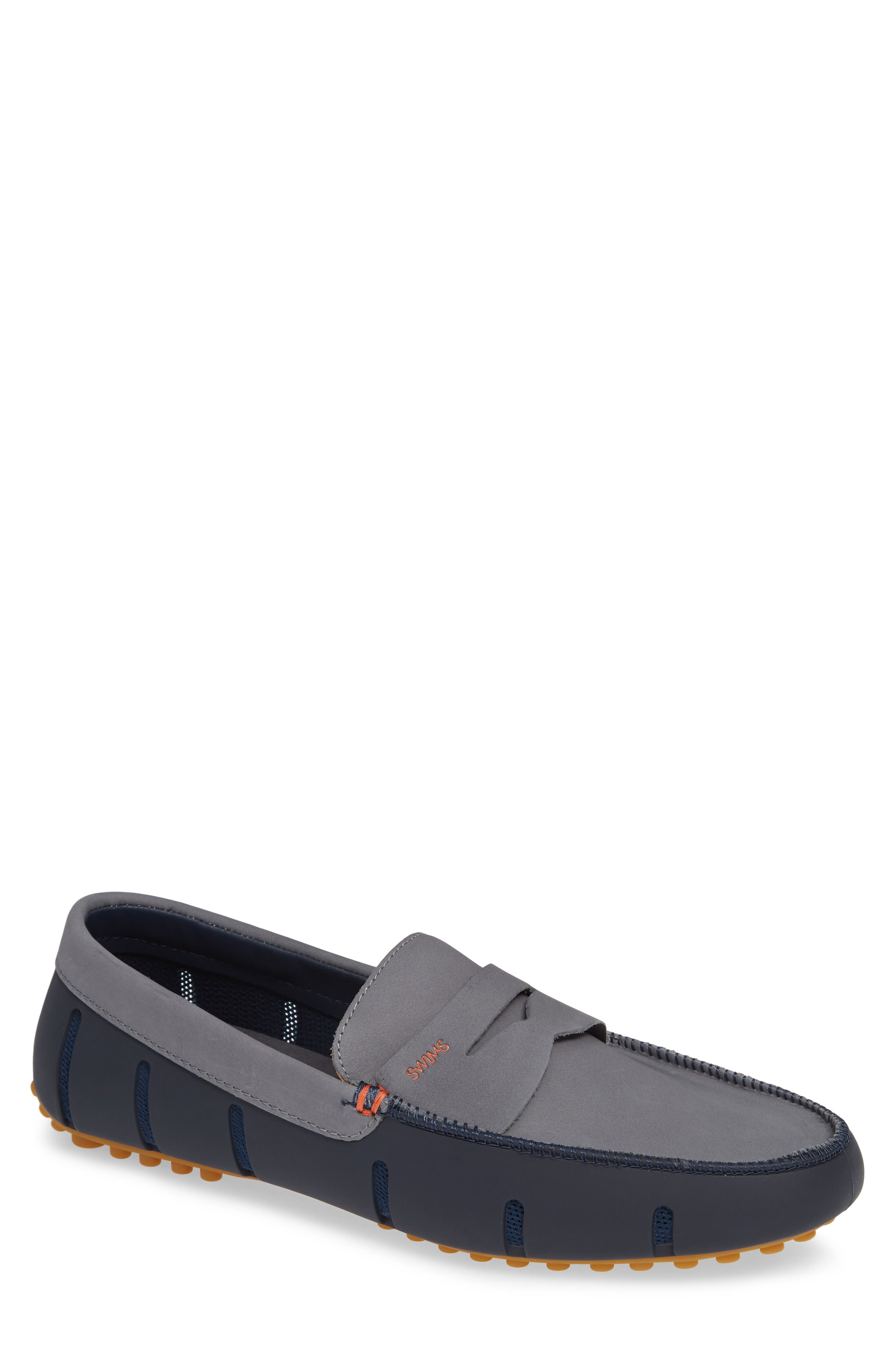 SWIMS Men'S Lux Nubuck Leather & Rubber Penny Loafer Drivers in Navy/Grey/Gum