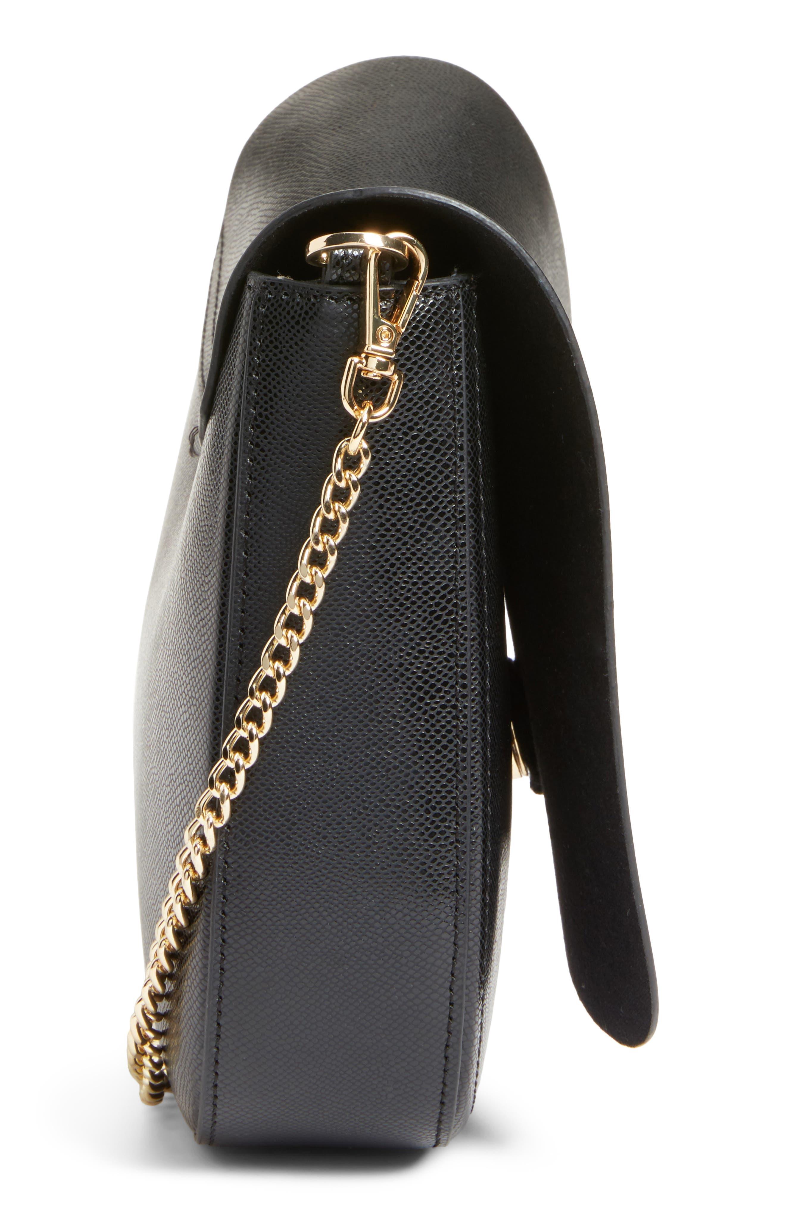Kittii Cat Leather Crossbody Bag,                             Alternate thumbnail 5, color,                             001