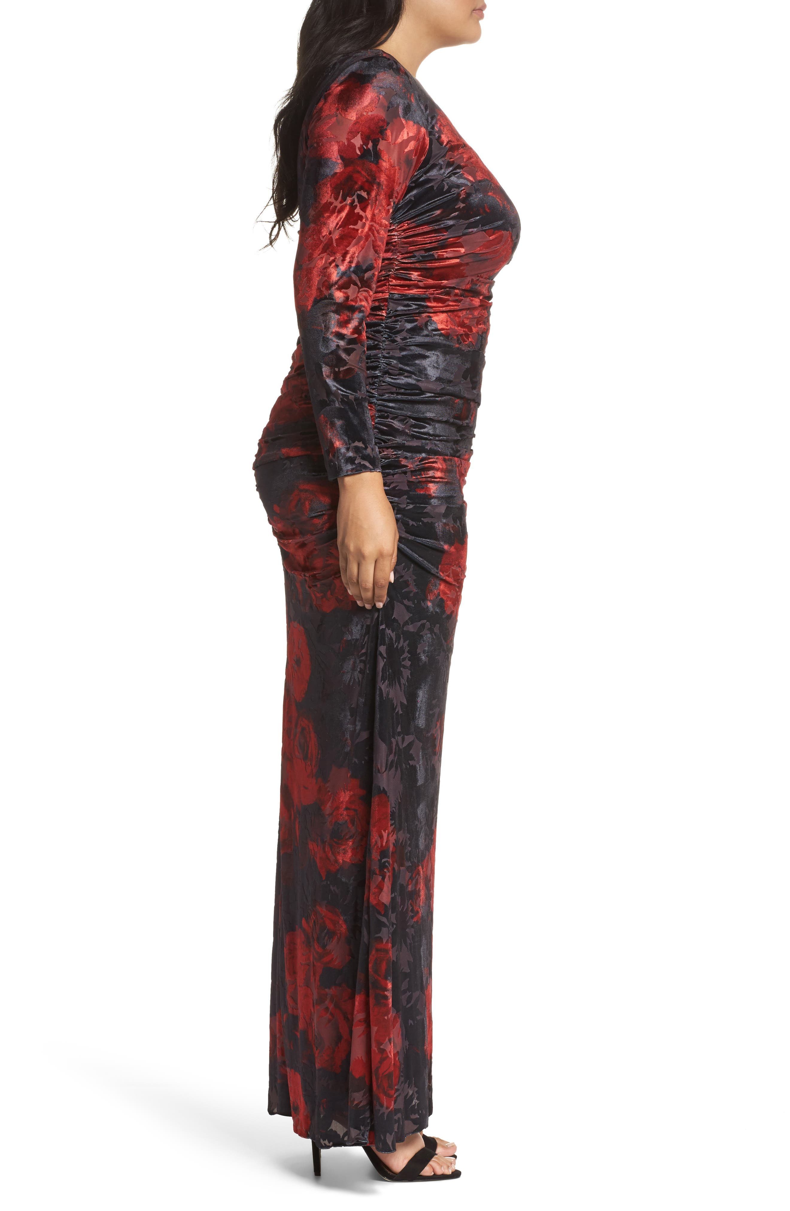 Adriana Papell Burnout Velvet Gown,                             Alternate thumbnail 3, color,                             640