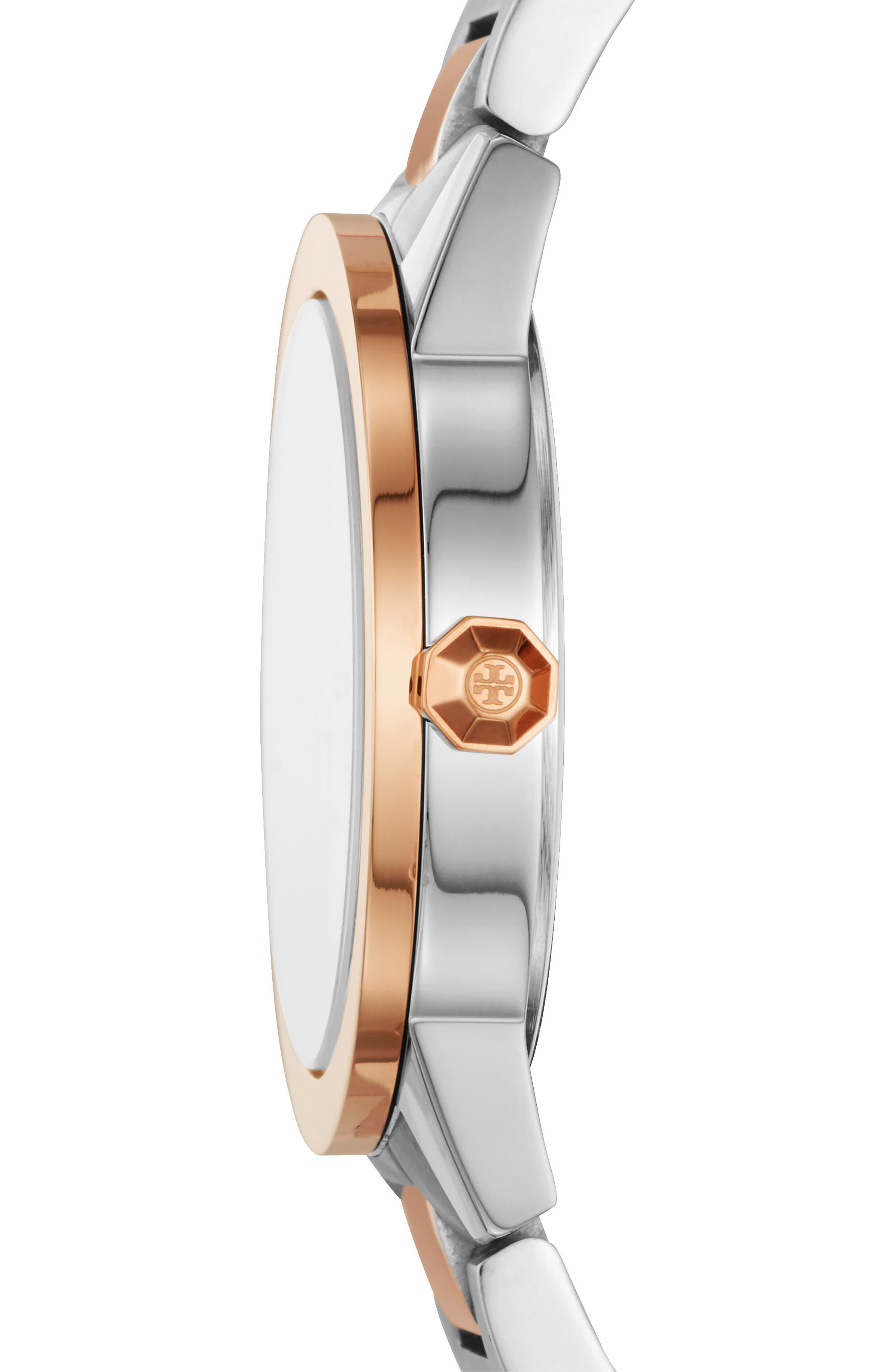 Gigi Bracelet Watch, 36mm,                             Alternate thumbnail 2, color,                             SILVER/ CREAM/ ROSE GOLD