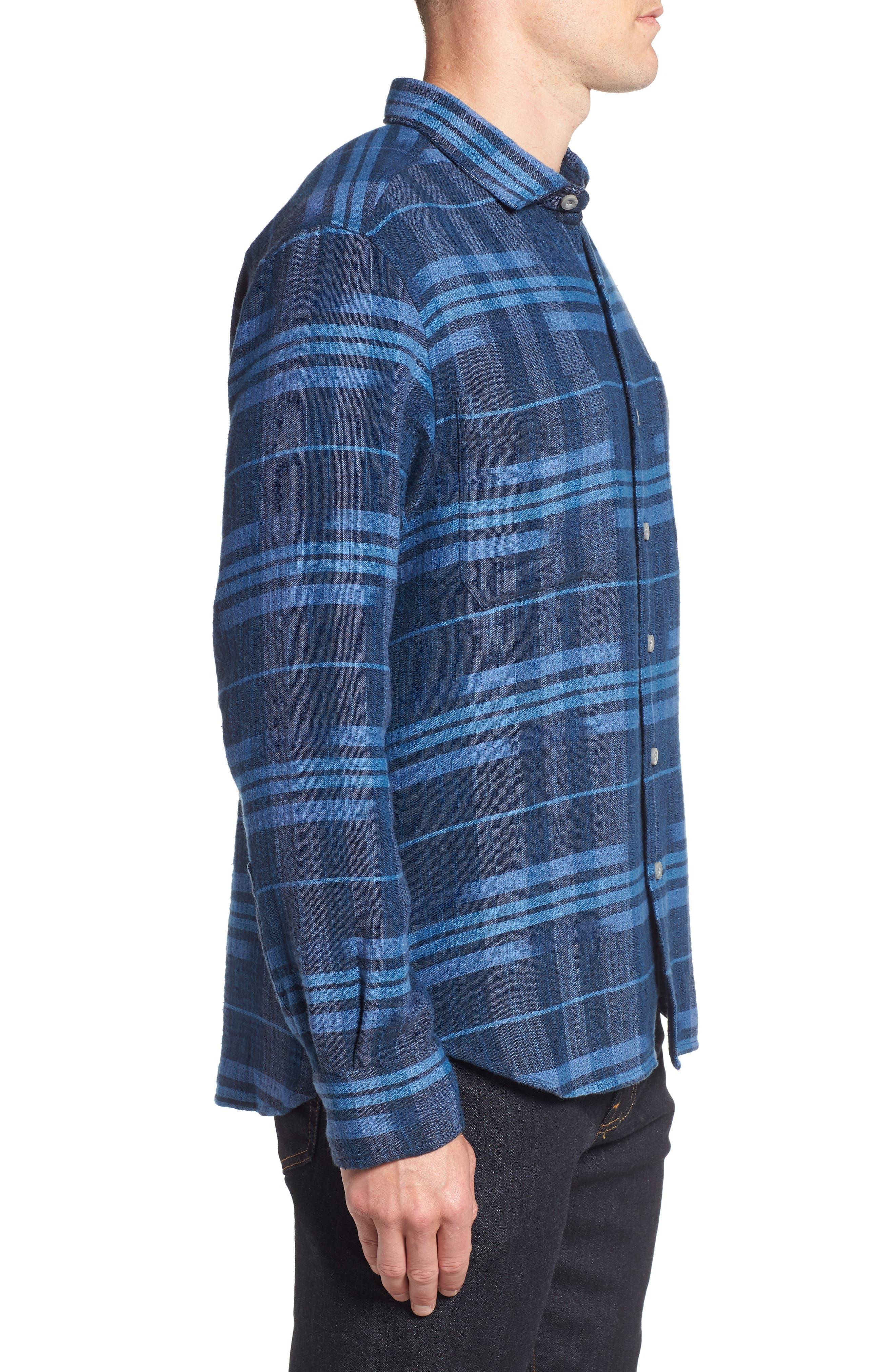 Amparo Plaid Sport Shirt,                             Alternate thumbnail 3, color,                             BLUE JEAN