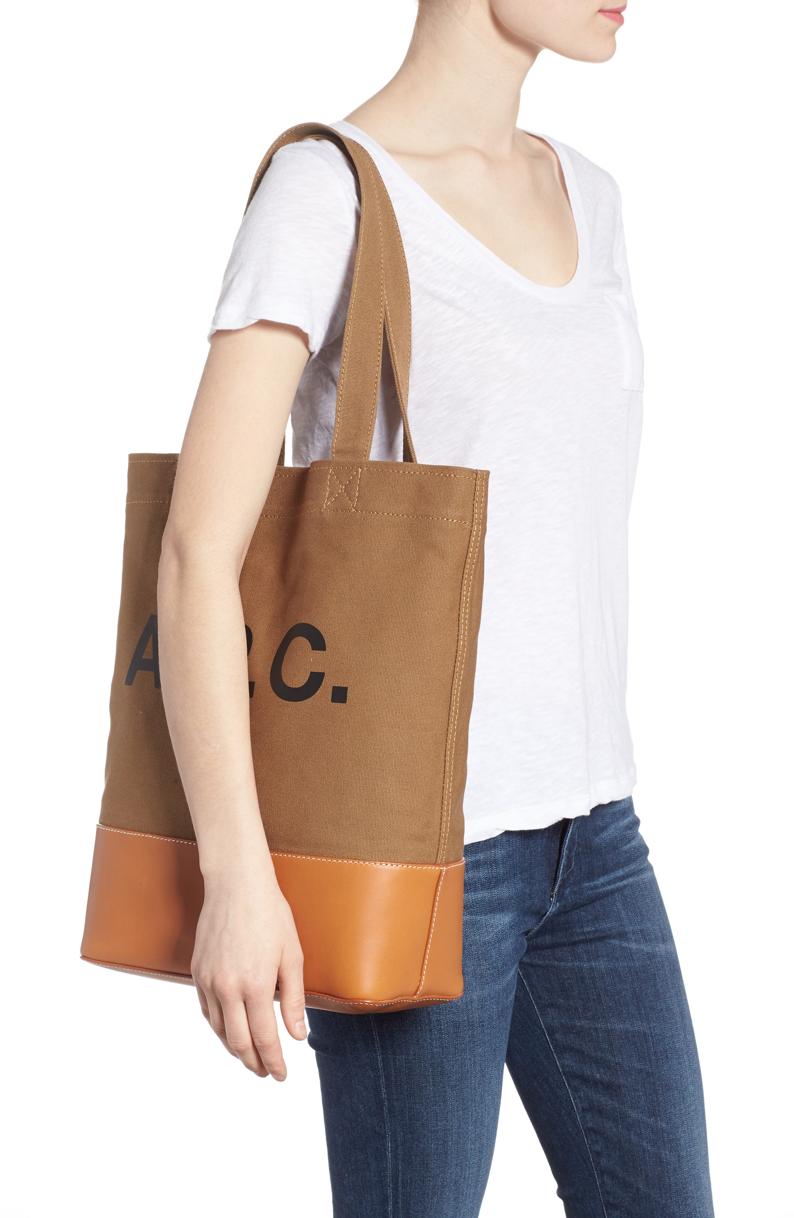 Cabas Axel Canvas & Leather Tote,                             Alternate thumbnail 2, color,                             KAKI CLAIR