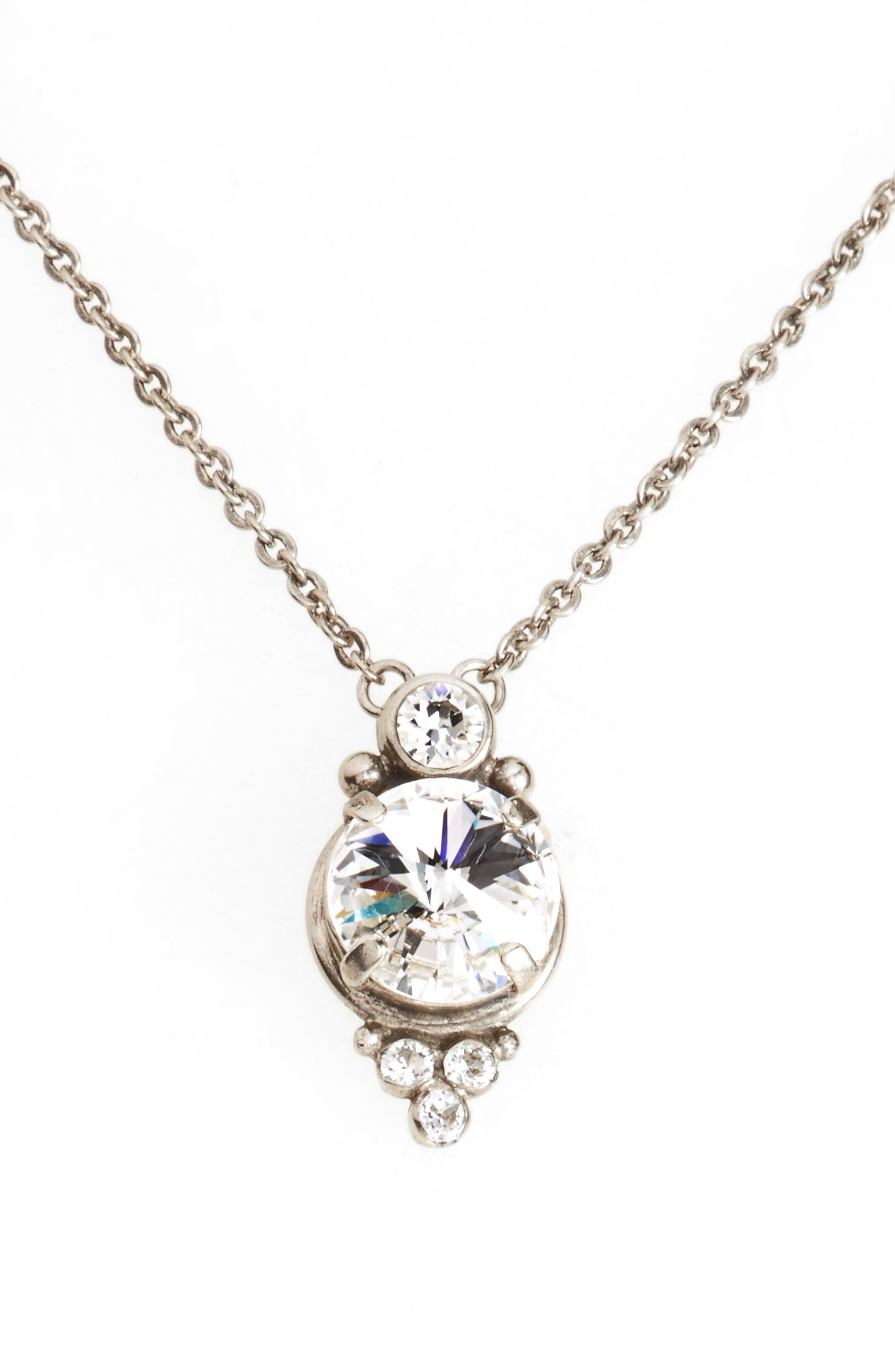 Radiant Crystal Pendant Necklace,                             Main thumbnail 1, color,                             CLEAR