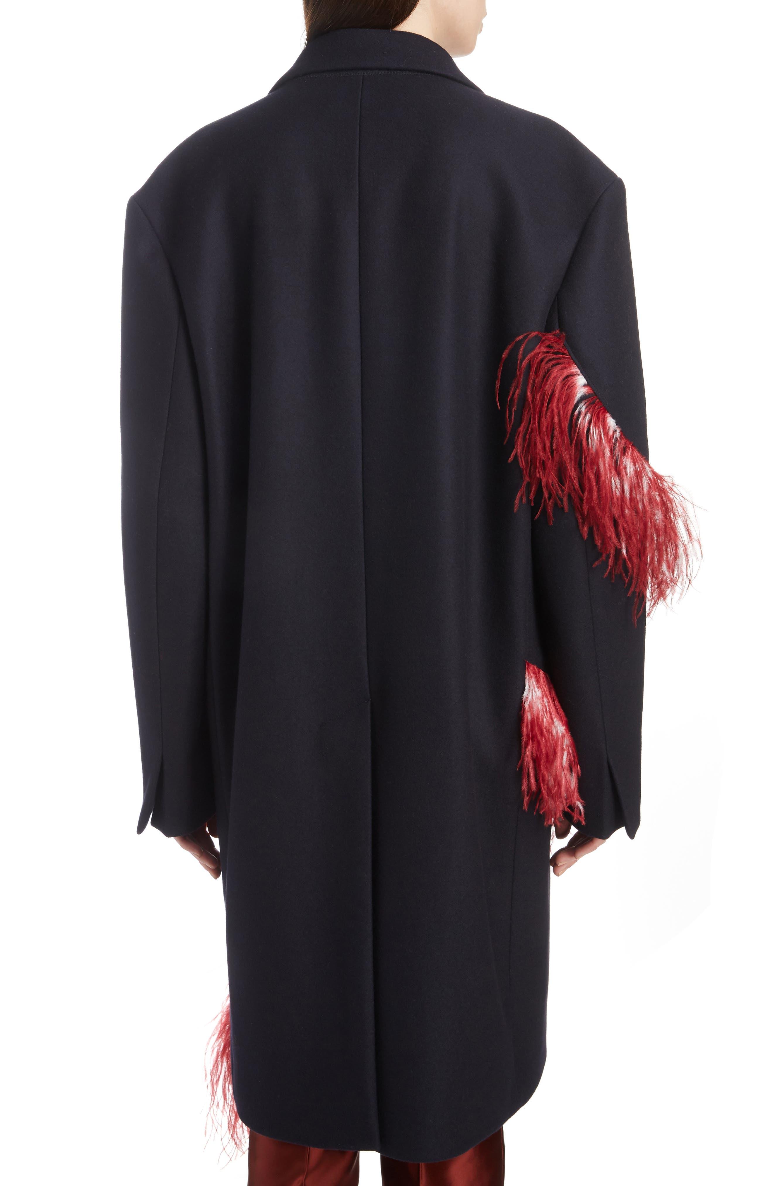 DRIES VAN NOTEN,                             Ostrich Feather Trim Wool Blend Reefer Coat,                             Alternate thumbnail 2, color,                             421