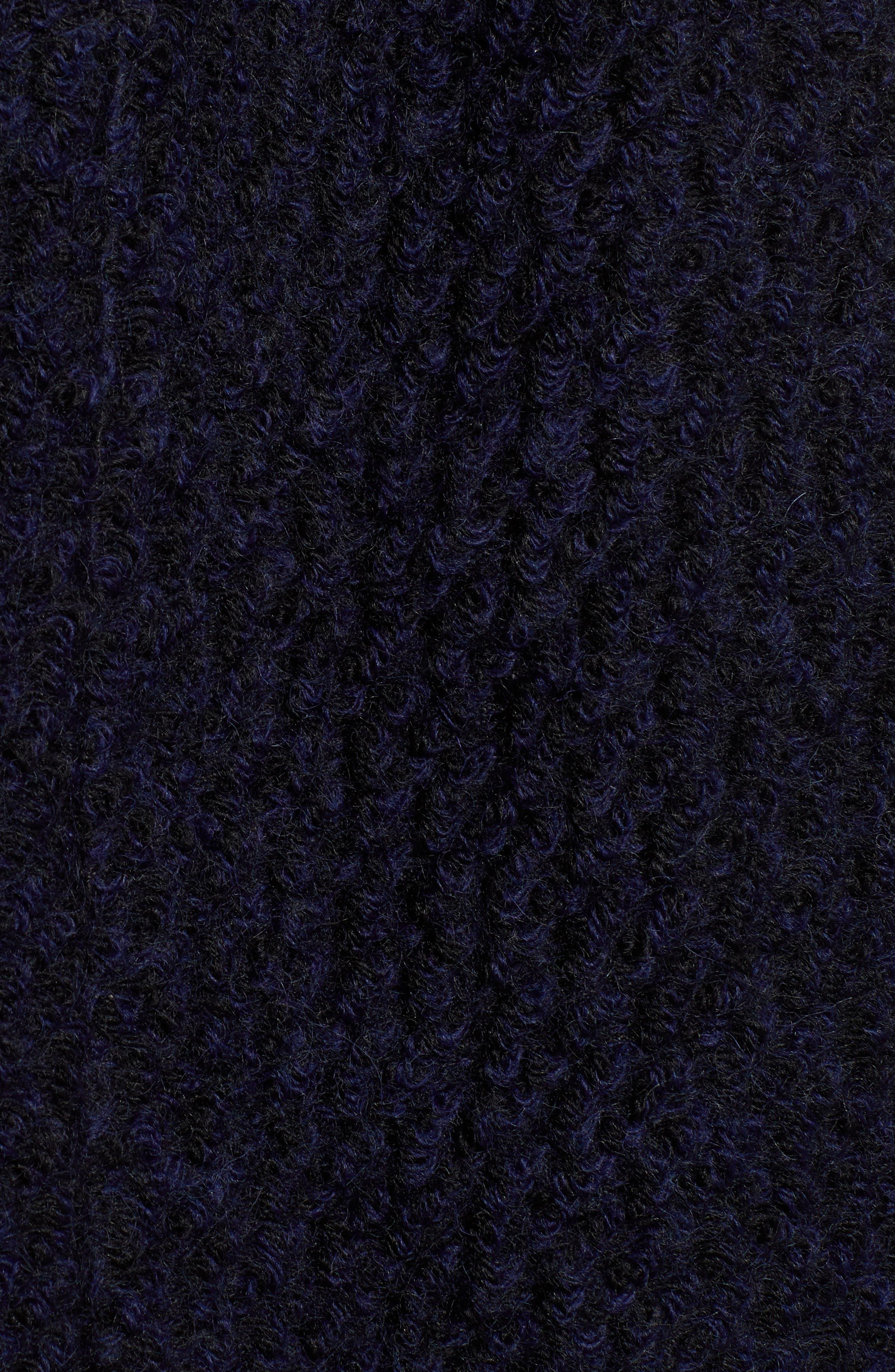 Belted Bouclé Wool Blend Coat,                             Alternate thumbnail 7, color,                             BLACK/ NAVY