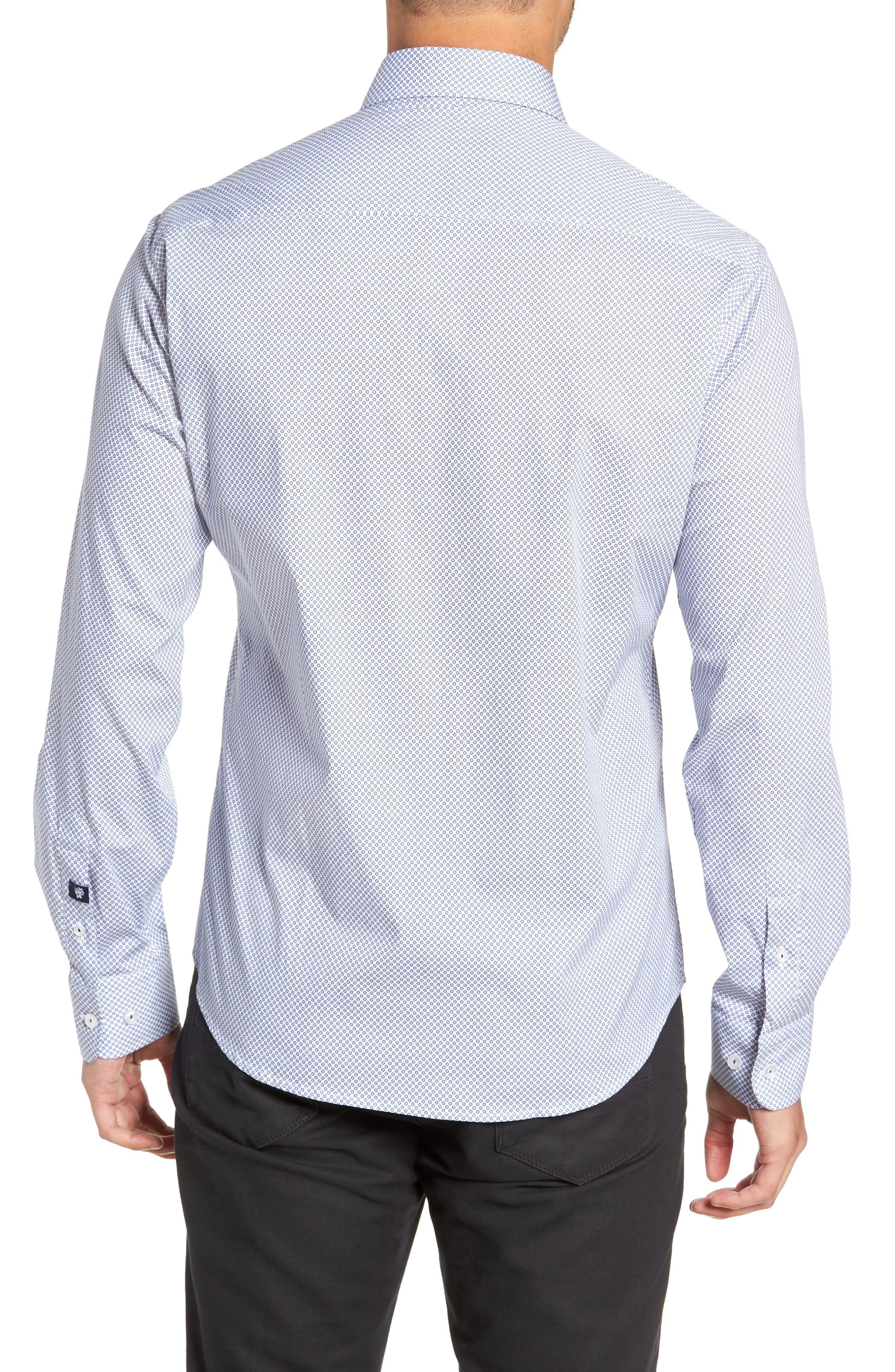 Regular Fit Geometric Print Sport Shirt,                             Alternate thumbnail 3, color,                             WHITE