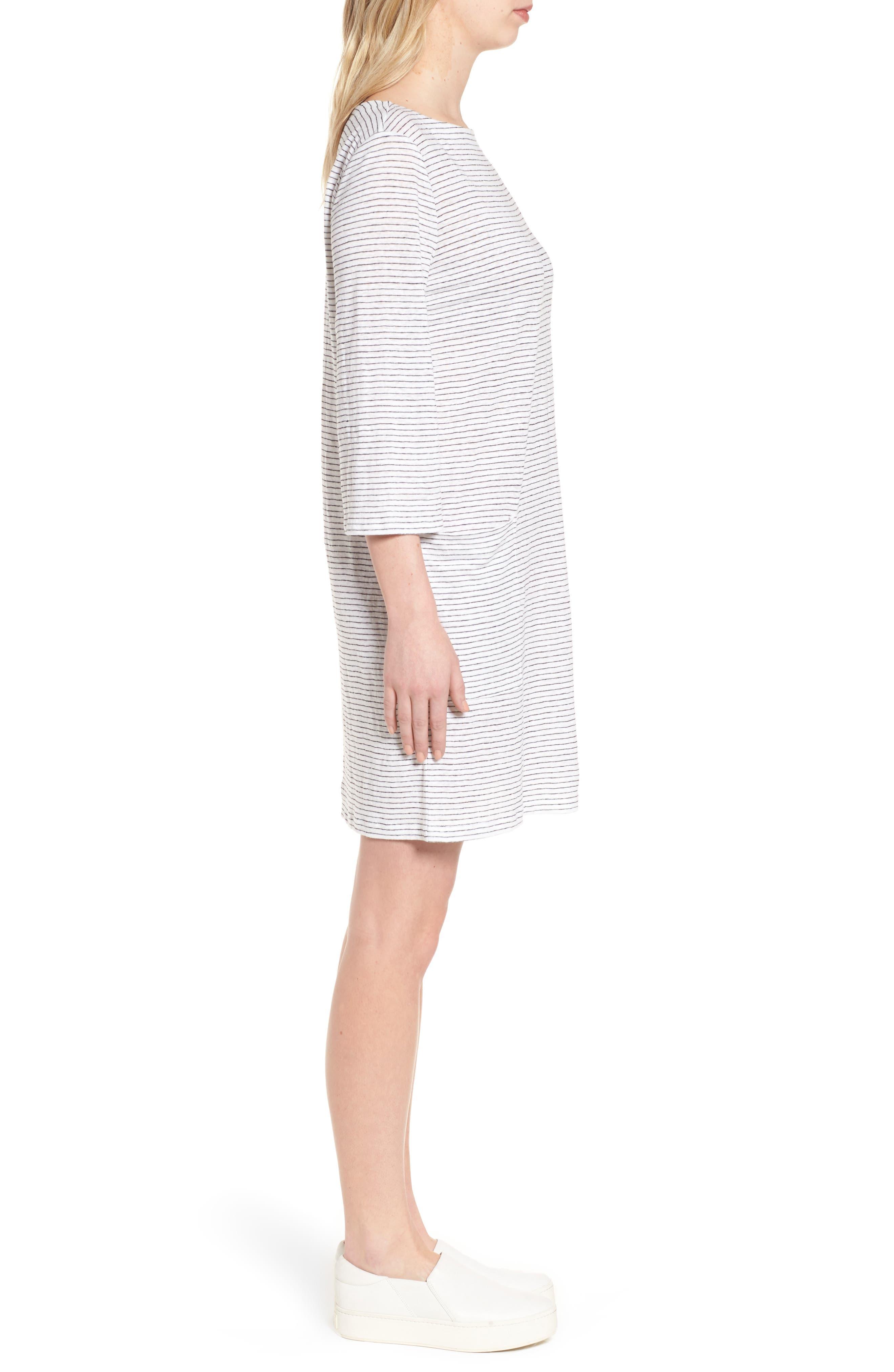 Organic Linen Shift Dress,                             Alternate thumbnail 3, color,                             120