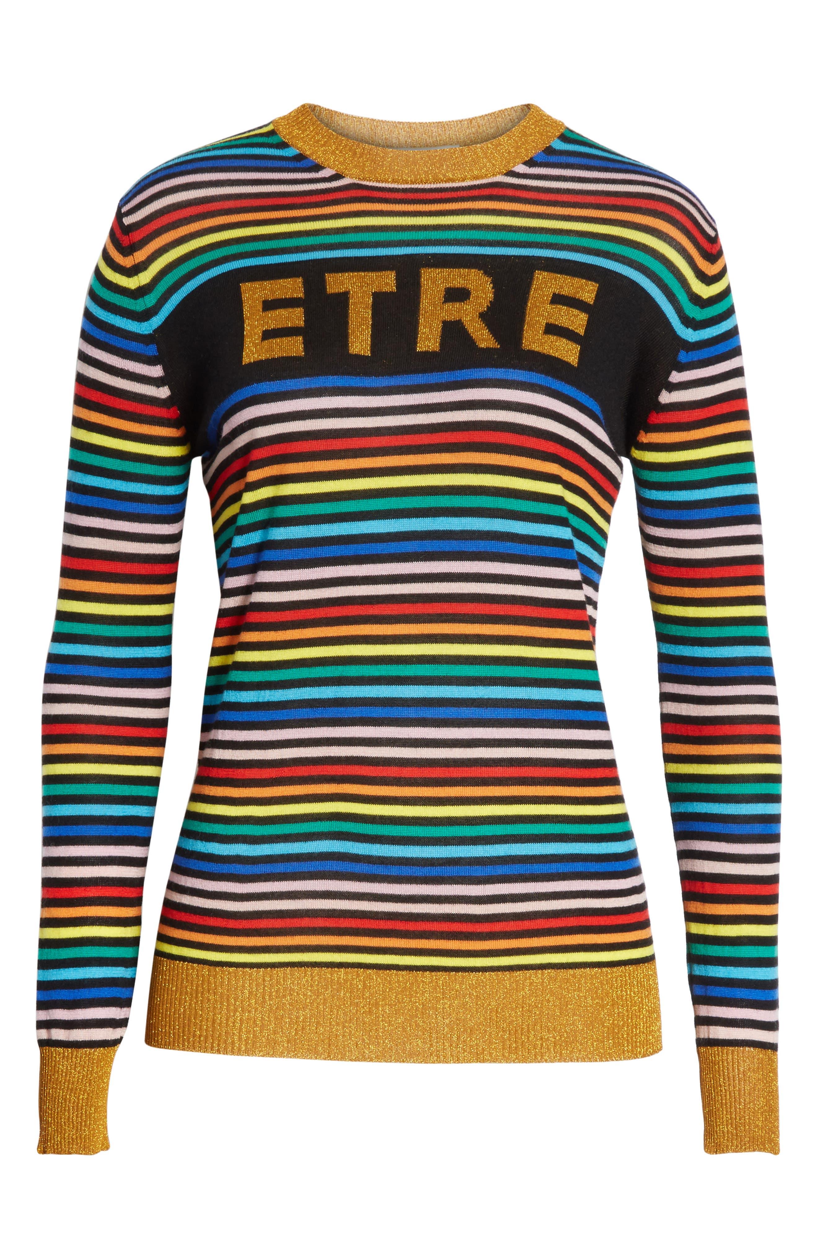 être cécile Stripe Knit Boyfriend Sweater,                             Alternate thumbnail 6, color,                             001