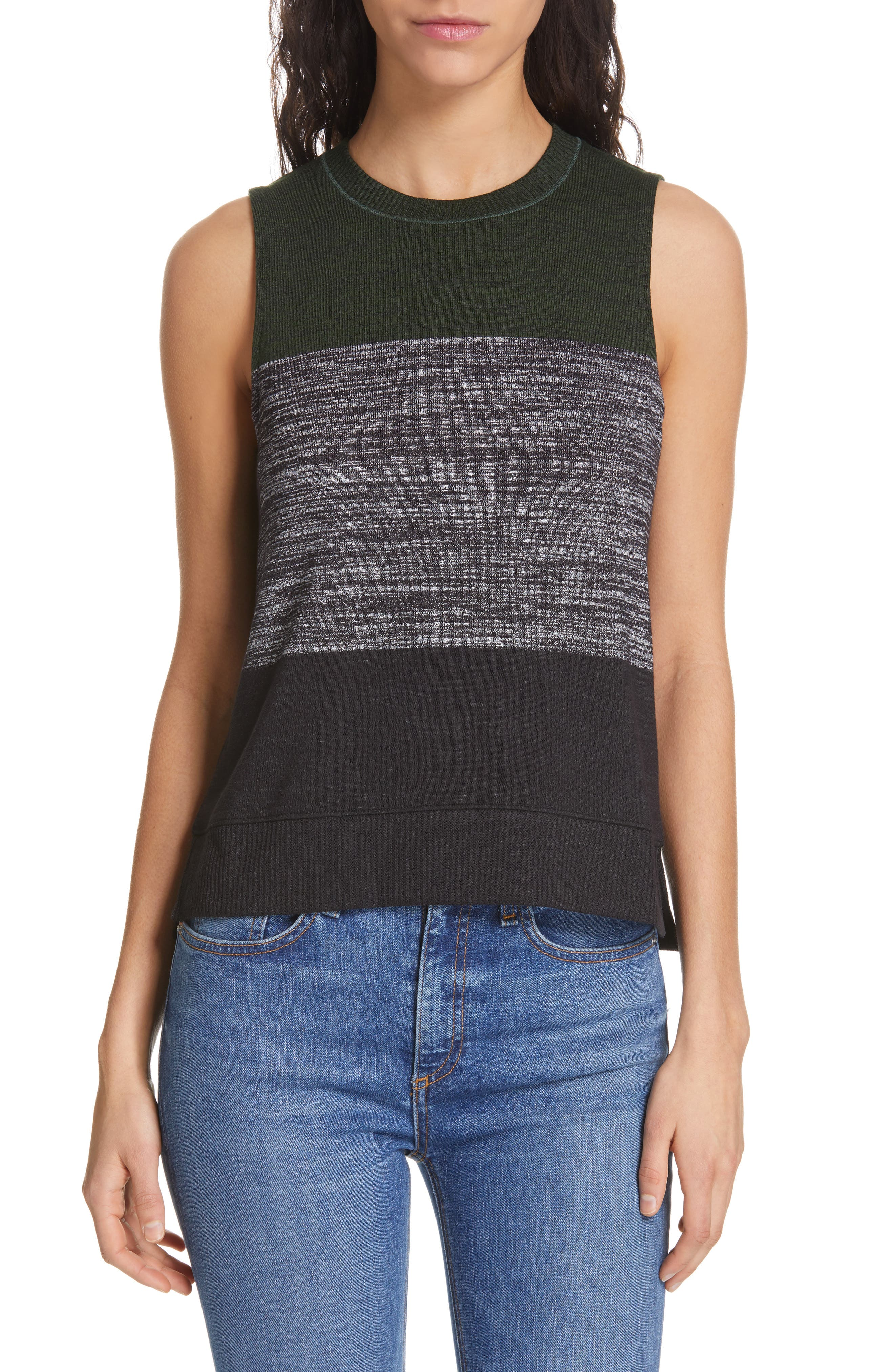 JEAN Bowery Colorblock Muscle Tank,                             Main thumbnail 1, color,                             EMERALD STRIPE