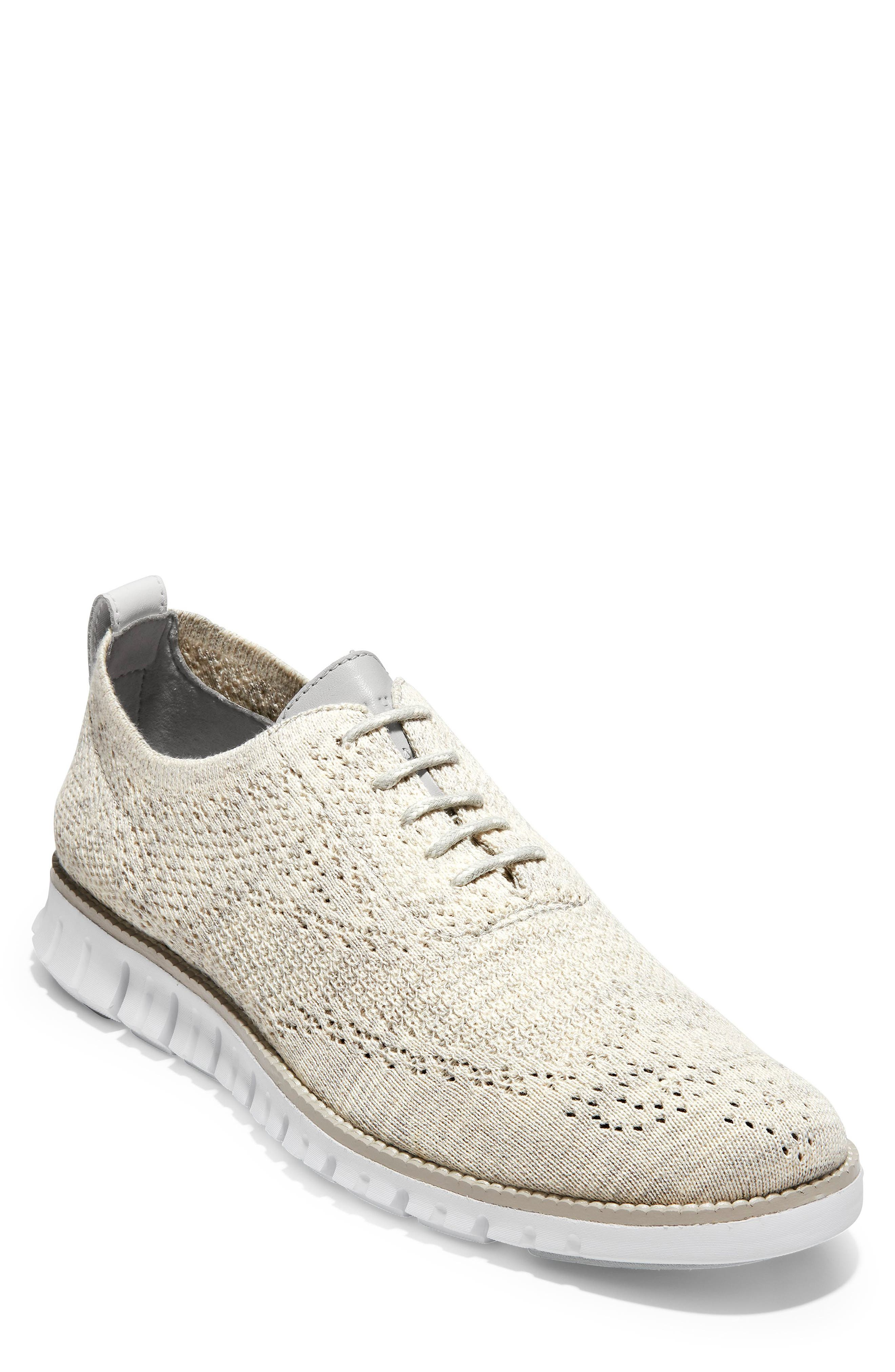 ZeroGrand Stitchlite Woven Wool Wingtip, Main, color, HARBOR MIST KNIT