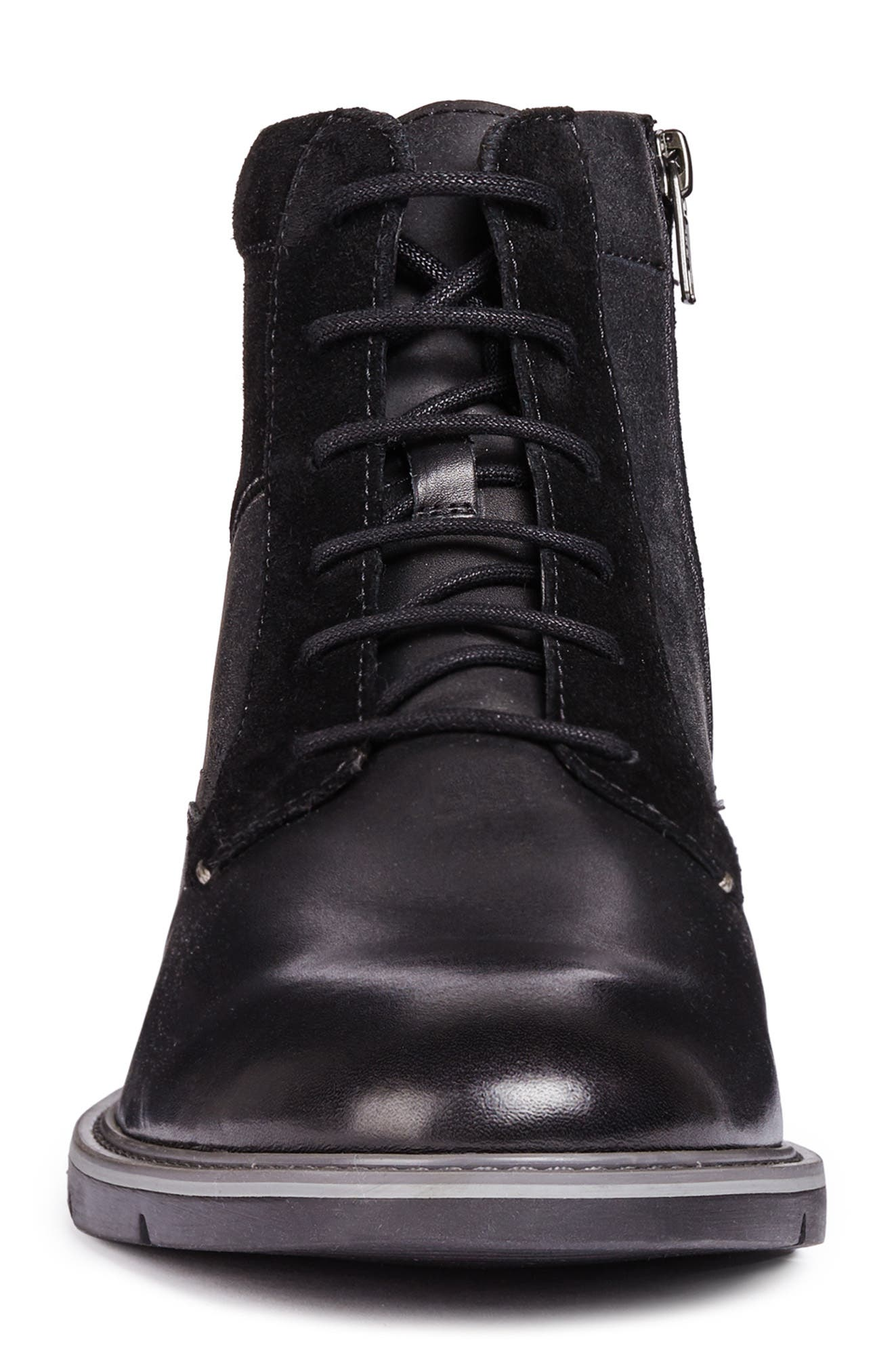 Uvet Lace-Up Boot,                             Alternate thumbnail 4, color,                             BLACK LEATHER
